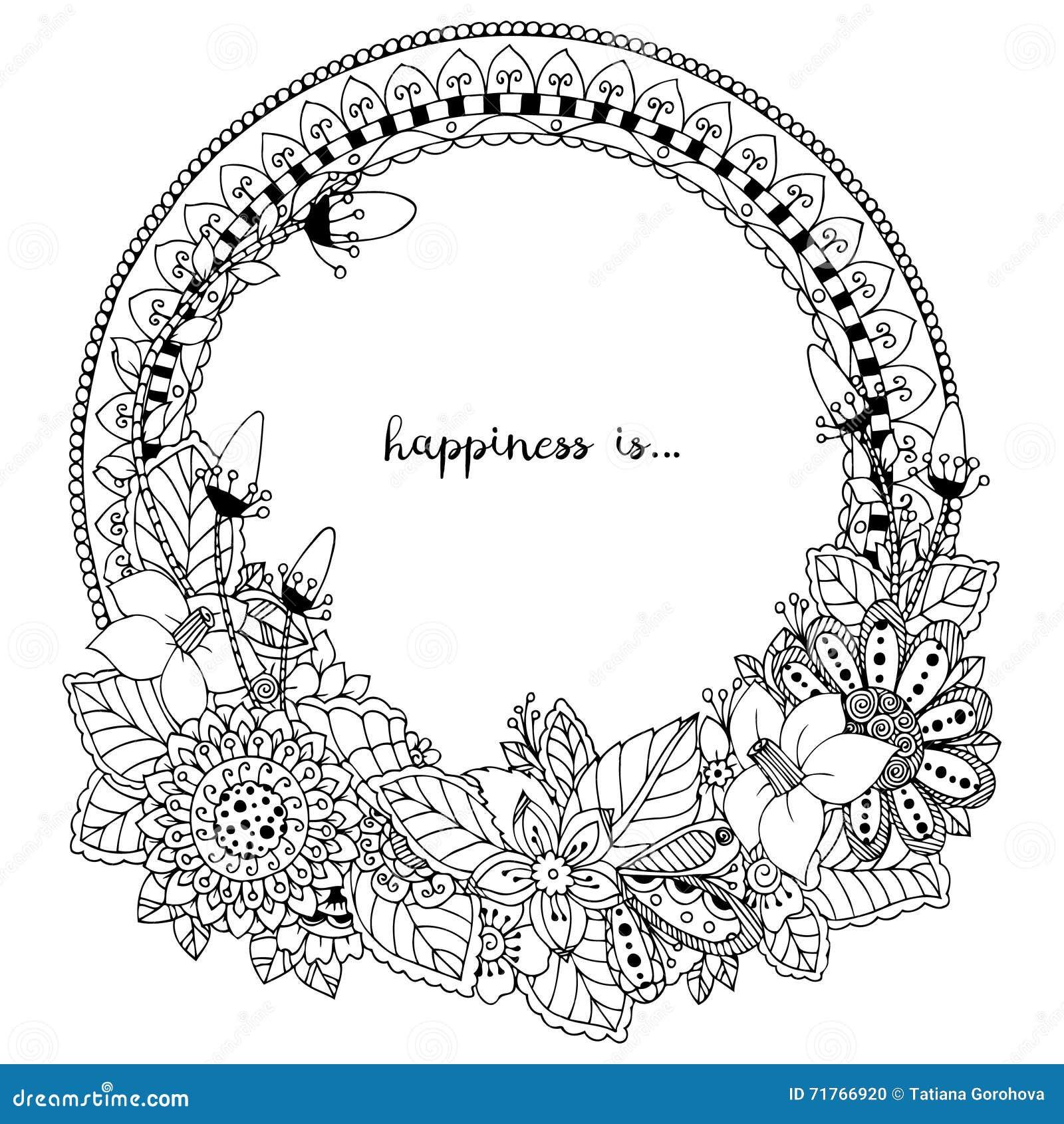 Vectorillustratie Zen Tangle, krabbel om kader met bloemen, mandala Het kleuren boek antispanning voor volwassenen Zwart Wit