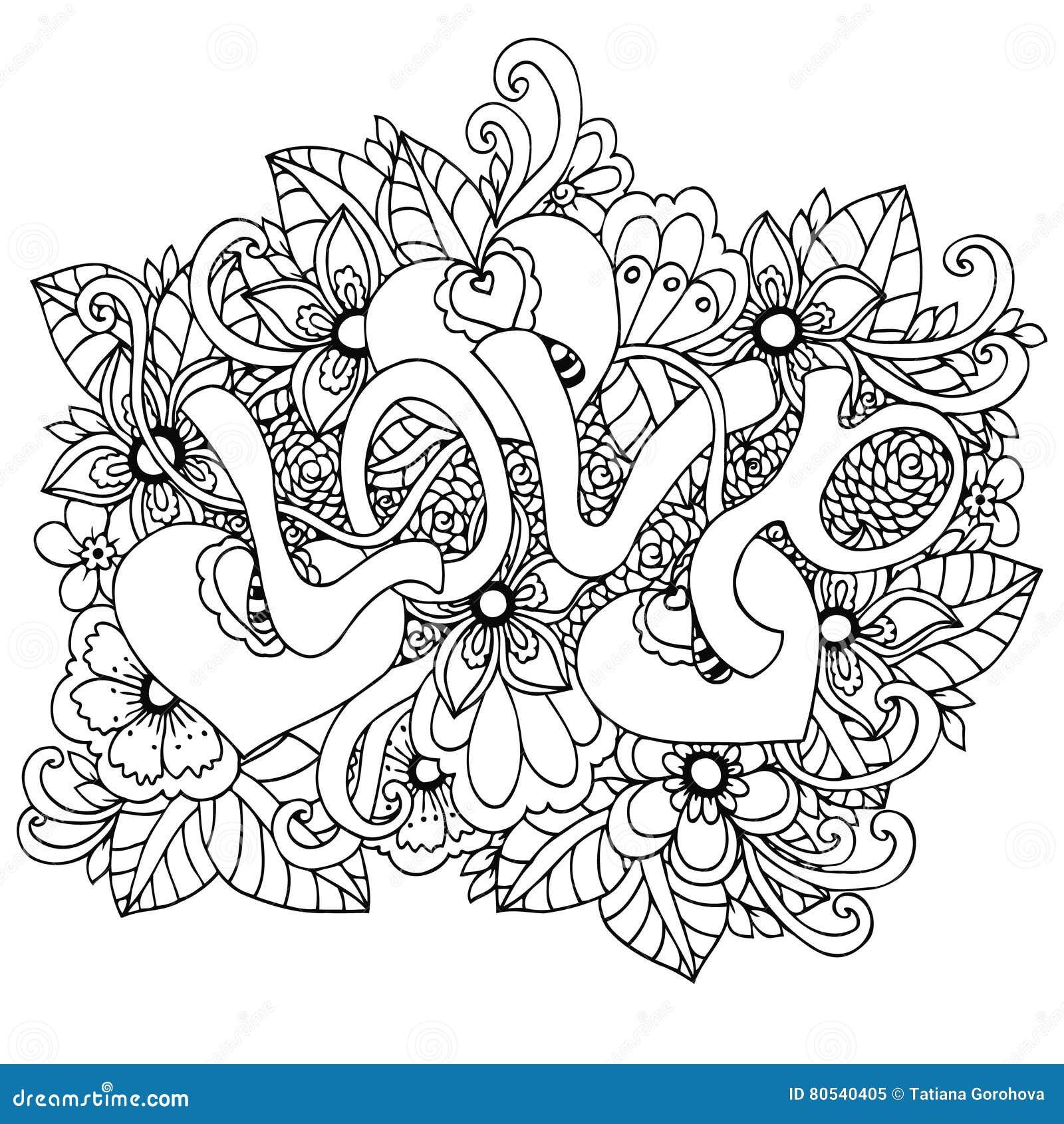 Vectorillustratie zentangl, de woordliefde in bloemen Vectoreps 10 Het kleuren boek antispanning voor volwassenen meditative