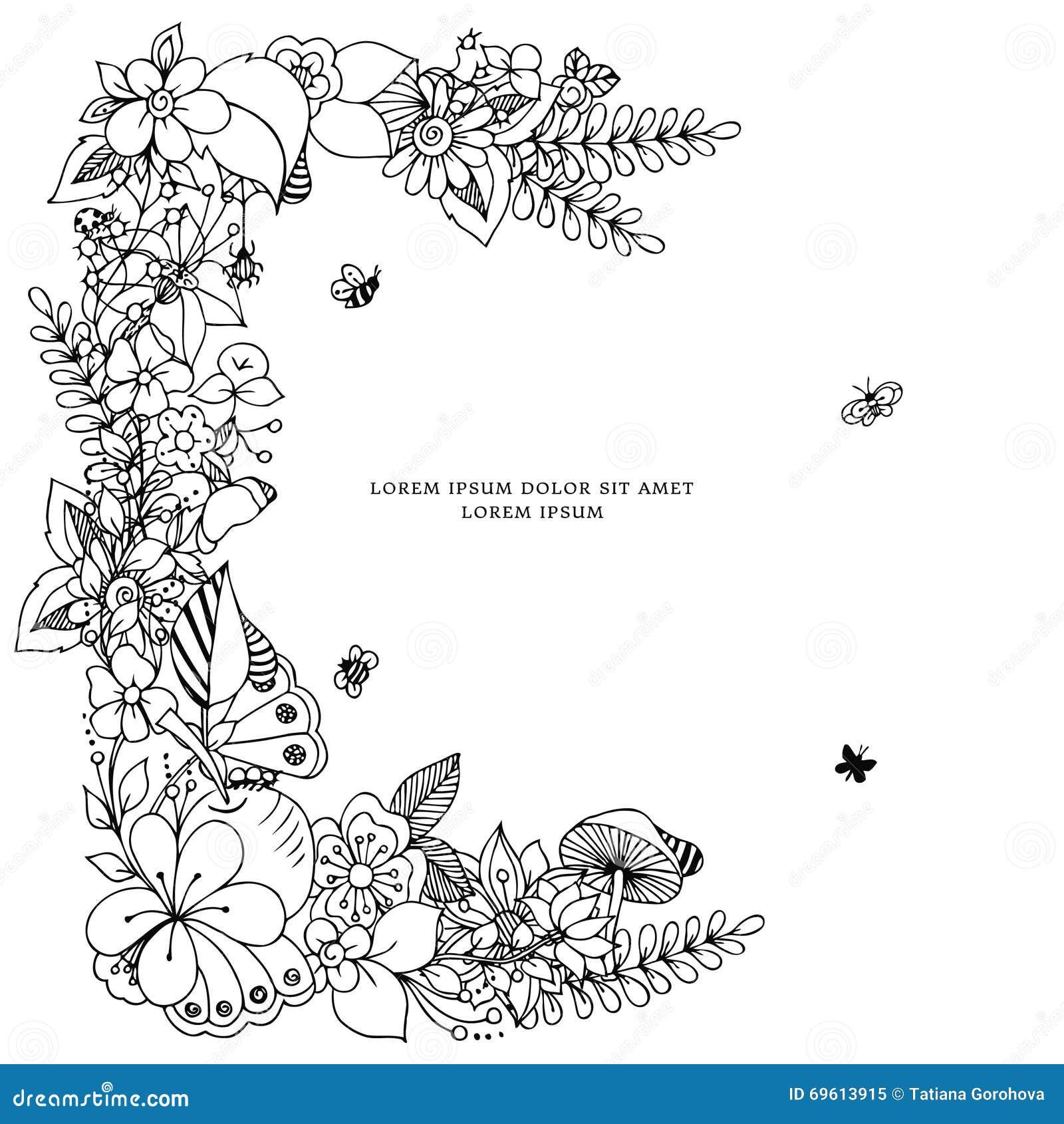 Vectorillustratie zentangl kaart met Kaderbloemen Krabbelbloemen, de lente, juwelen, huwelijk Kleurend boek anti