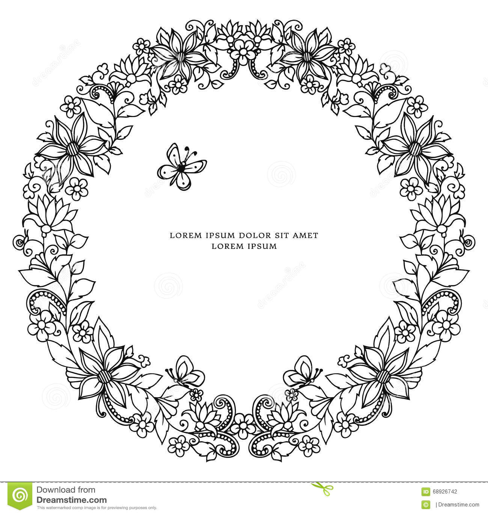 Vectorillustratie zentangl rond bloemenkader, symmetrie Krabbelbloemen, bij, vlinder zenart, het dudling Het kleuren voor