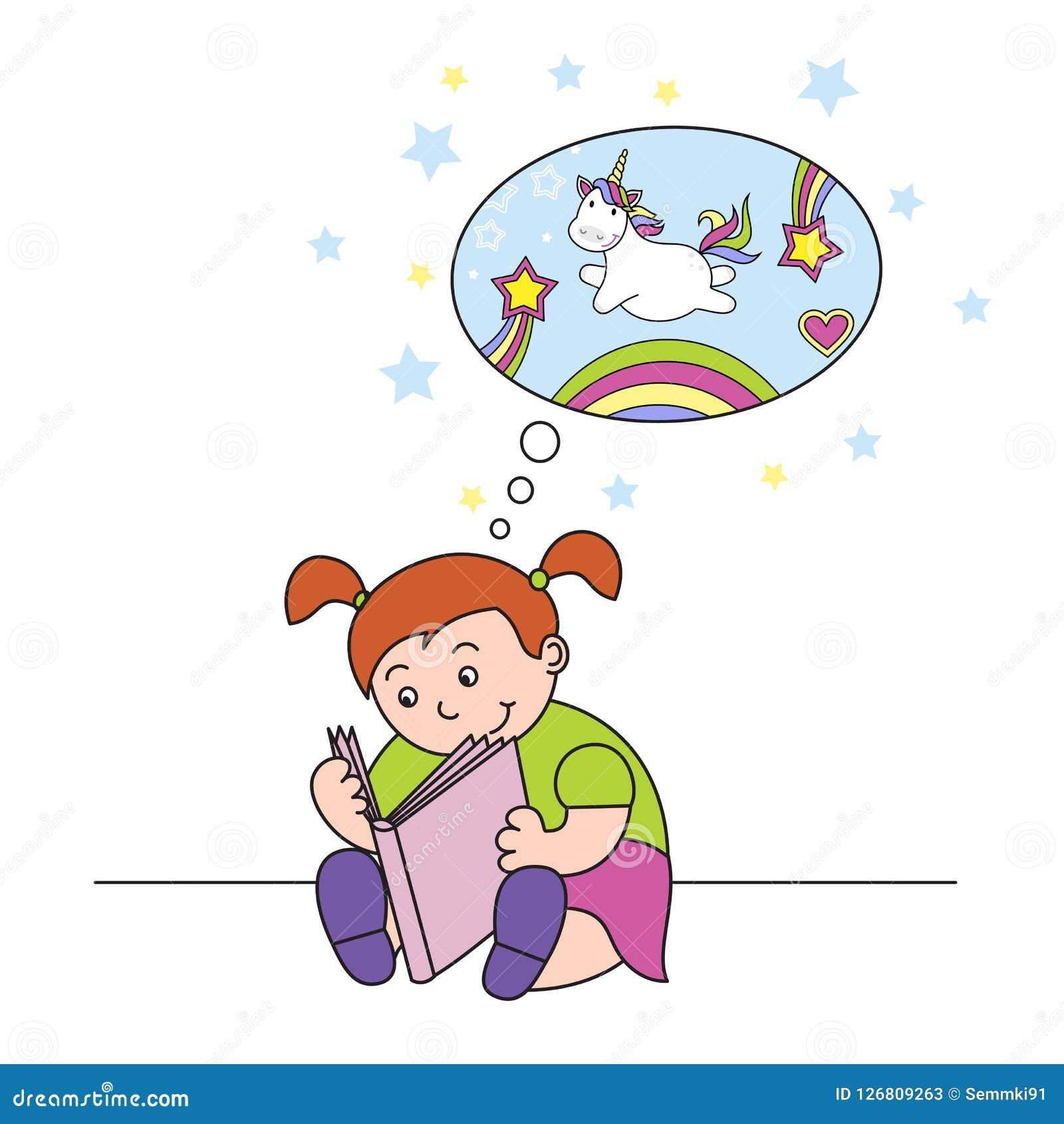 Vectorillustratiemeisje die een boek lezen en van een leuke eenhoorn dromen