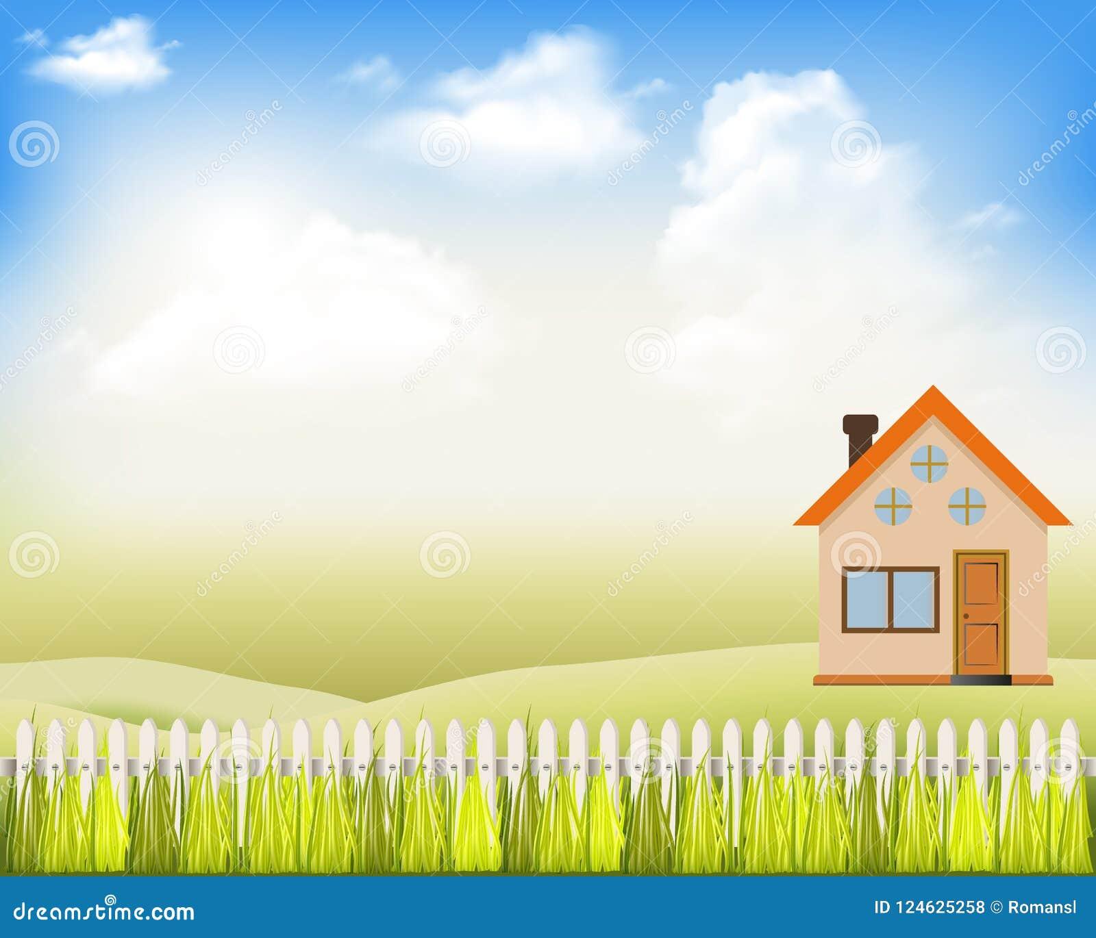 Vectorillustraties modern huis op de aard met een witte omheining en blauwe hemel met wolken Dit is dossier van EPS10-formaat Lan