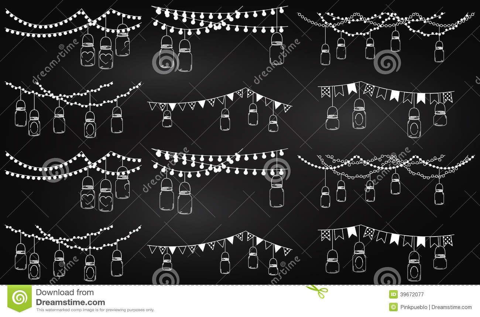 Vectorinzameling van Bordstijl Mason Jar Lights