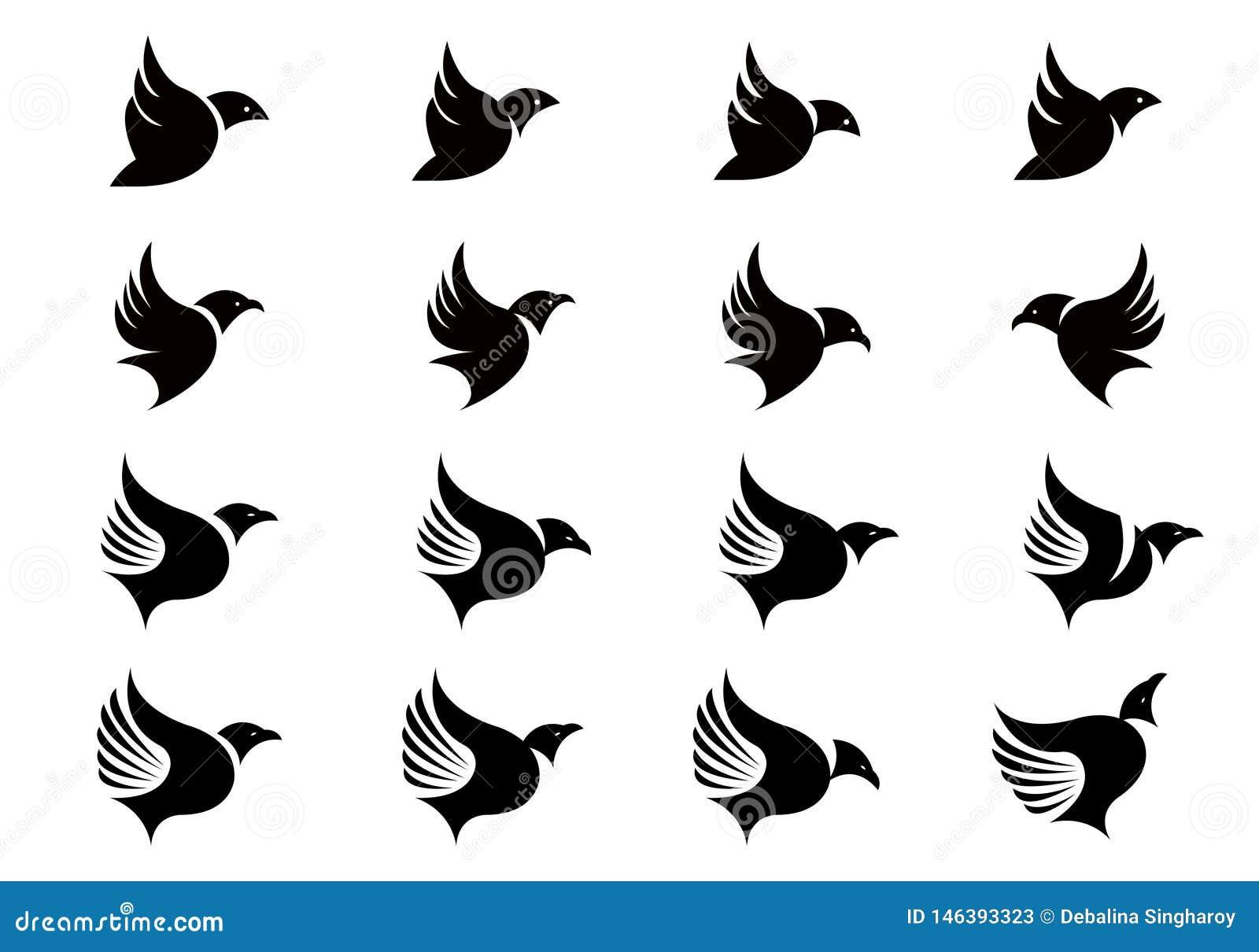 Vectorinzameling van de Vliegende ontwerpsjabloon van Vogelsilhouetten