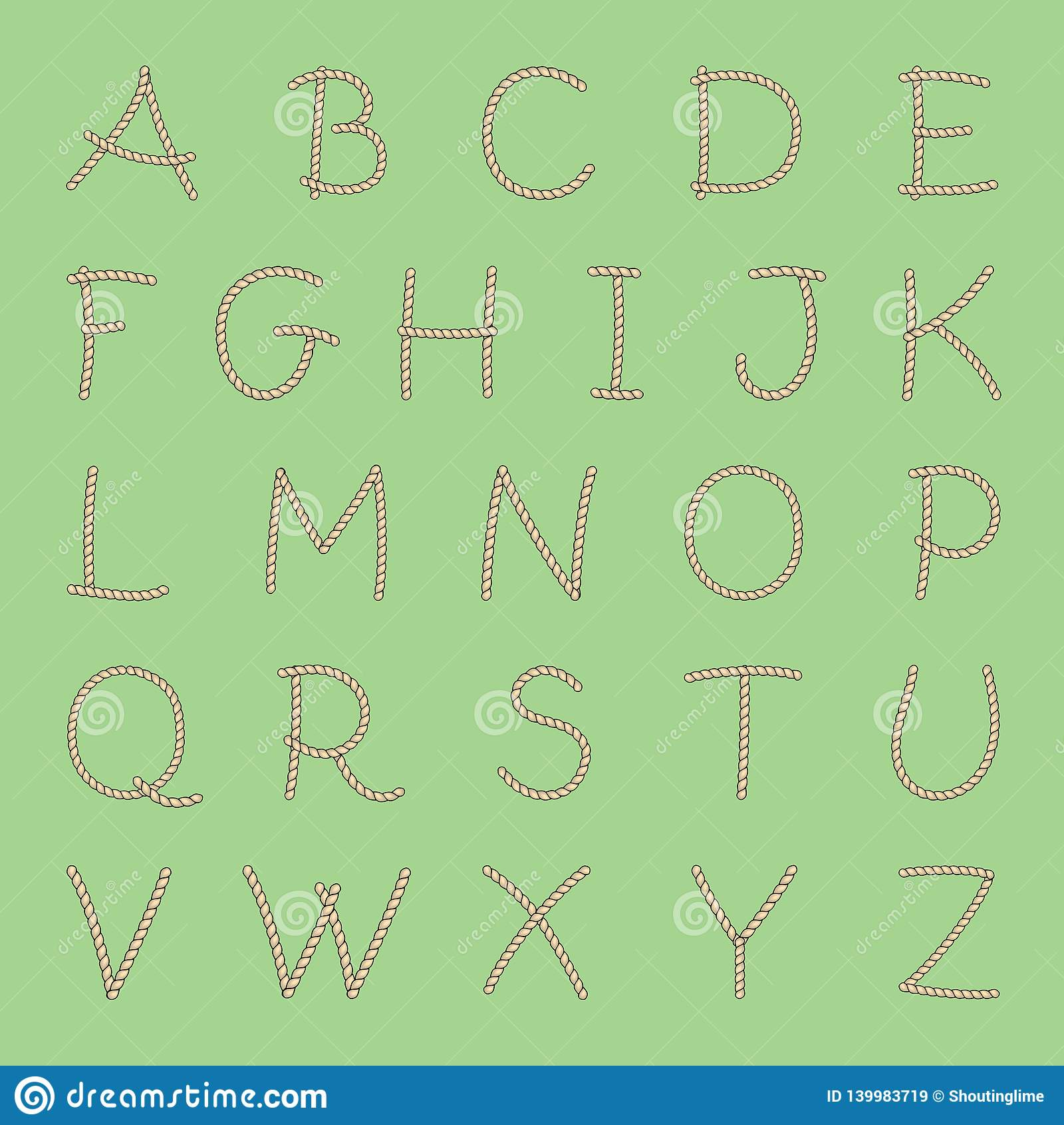 Vectorkabel Engels Alfabet Alle Brieven A-Z