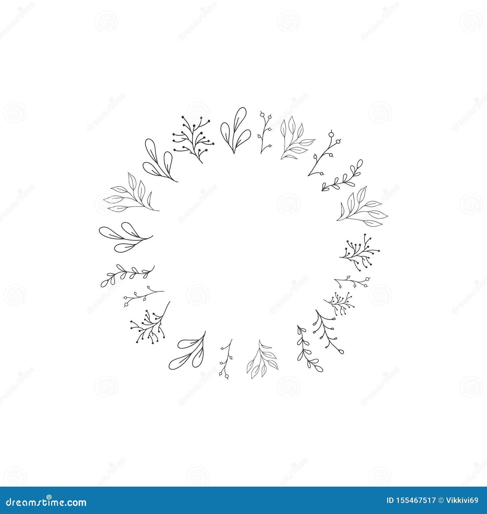 Vectorkader met bloemen Vectoreps 10 Huwelijk, de herfstdecor Hand getrokken element voor ontwerp