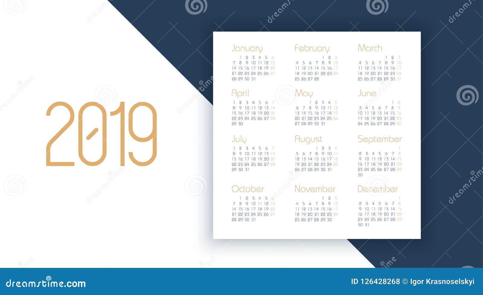 Vectorkalender 2019 jaar Ontwerpersontwerp Kalender 2019 vectormalplaatje