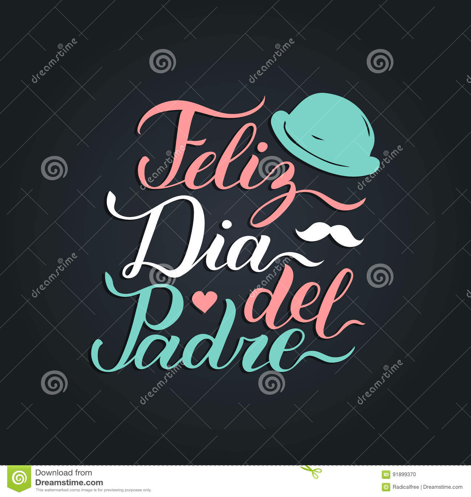 Vectorkalligrafie Feliz Dia Del Padre, vertaalde Gelukkige Vadersdag voor groetkaart, feestelijke affiche enz.