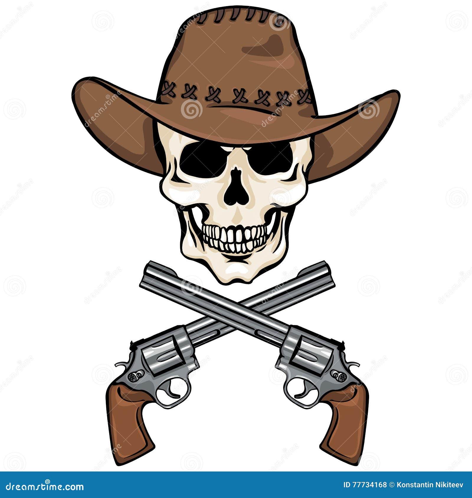 Vectorkarakter - schedelcowboy en gekruiste revolvers