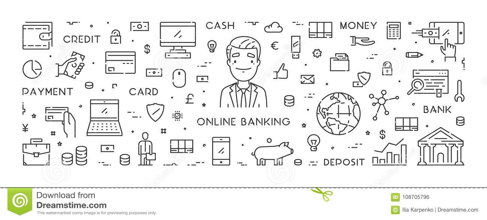 Vectorlijnbanner voor online bankwezen