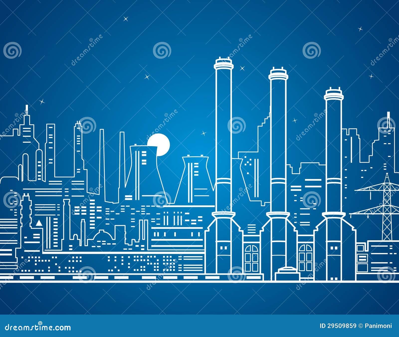 Vectorlijnenelektrische centrale op het water, industrieel ontwerp
