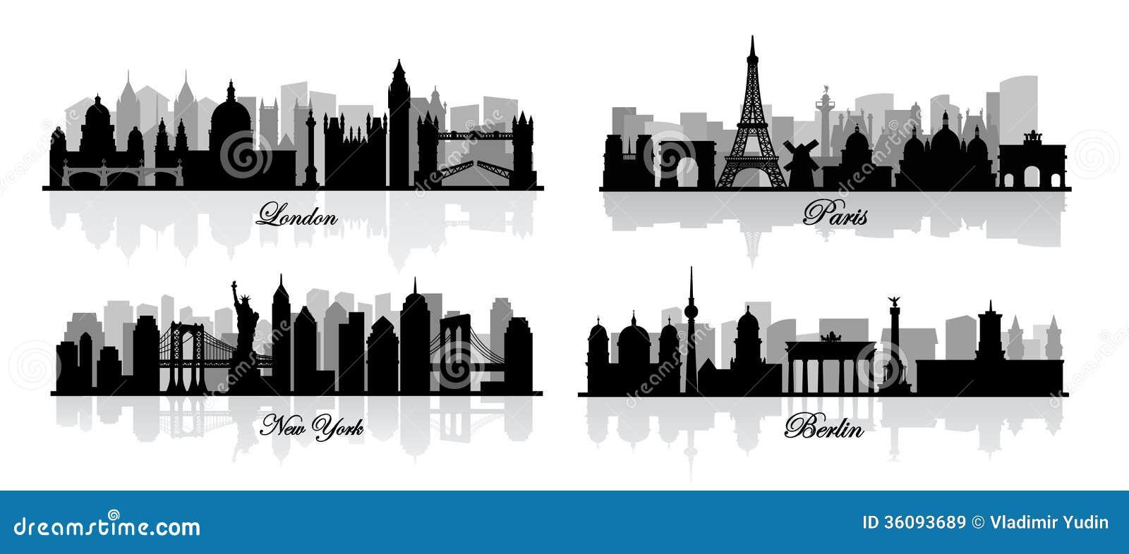 Vectorlonden, New York, Berlijn en Parijs