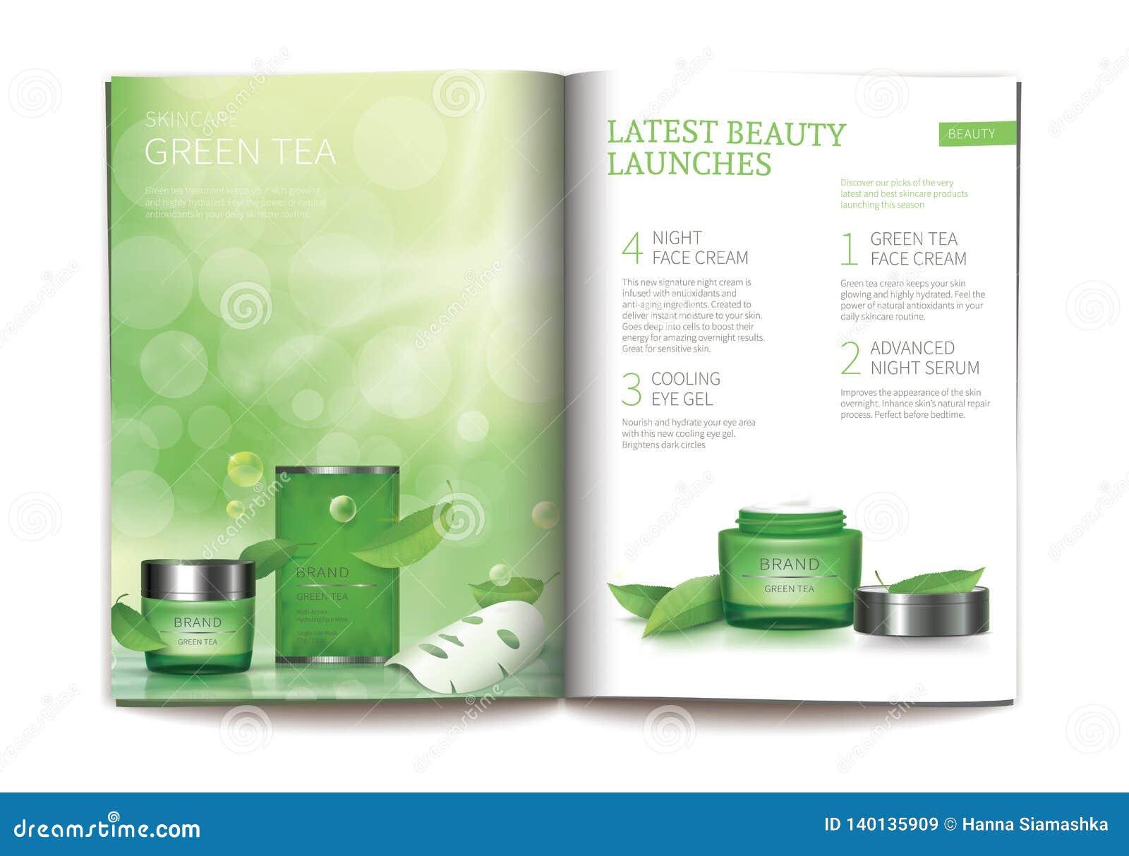 Vectormalplaatje voor glanzend kosmetisch tijdschrift