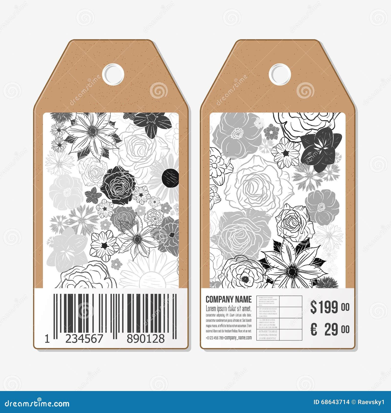 Vectormarkeringenontwerp aan beide kanten, de etiketten van de kartonverkoop met streepjescode Hand getrokken bloemenkrabbelpatro