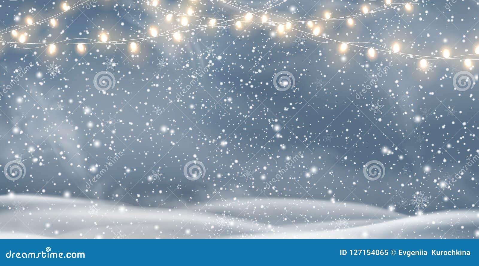 Vectornachtkerstmis, Sneeuwlandschap met lichte slingers, sneeuw, sneeuwvlokken, sneeuwbank Gelukkig Nieuwjaar Vakantie de winter