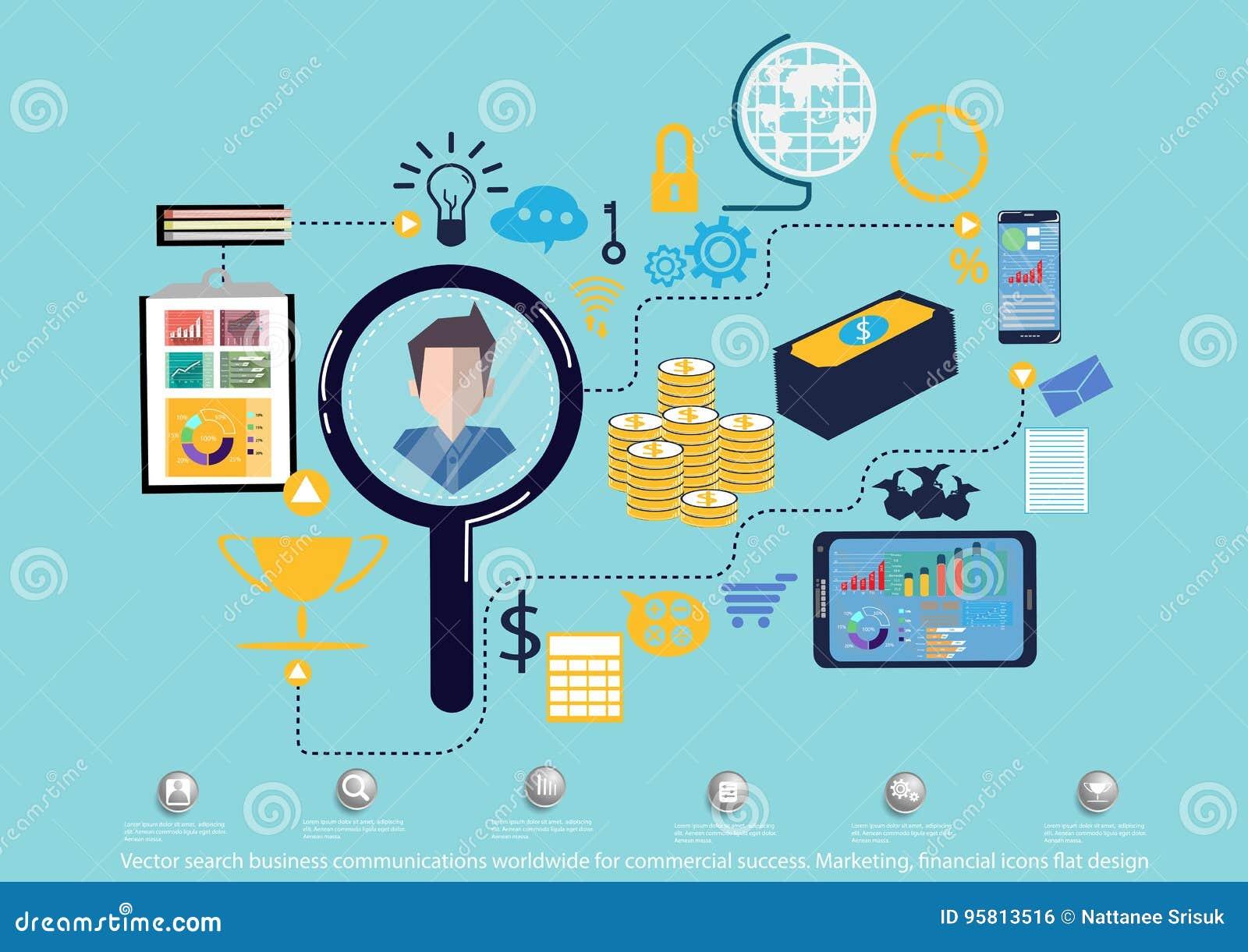 Vectoronderzoeks bedrijfsmededelingen wereldwijd voor commercieel succes Op de markt brengend, financieel pictogrammen vlak ontwe