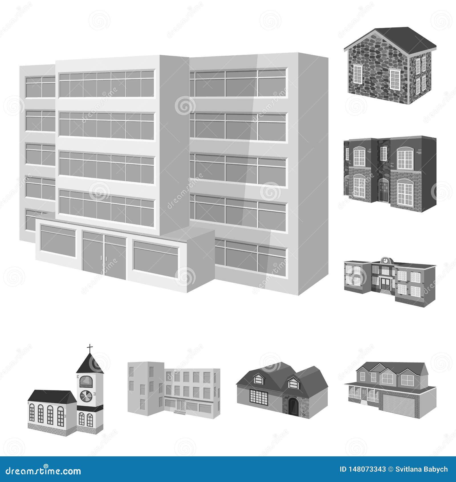 Vectorontwerp van architectuur en landgoedembleem Reeks van architectuur en huisvestings vectorpictogram voor voorraad