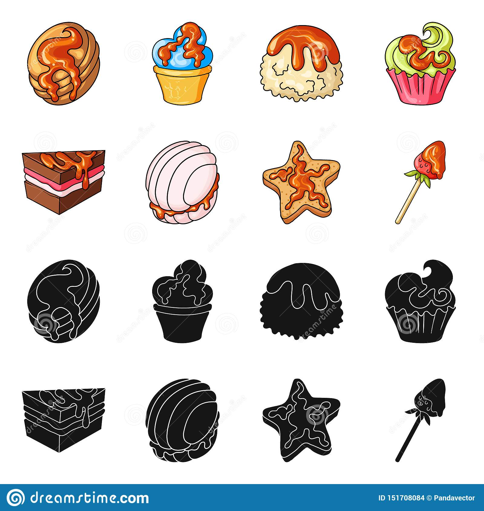 Vectorontwerp van banketbakkerij en culinair teken Inzameling van banketbakkerij en product vectorpictogram voor voorraad