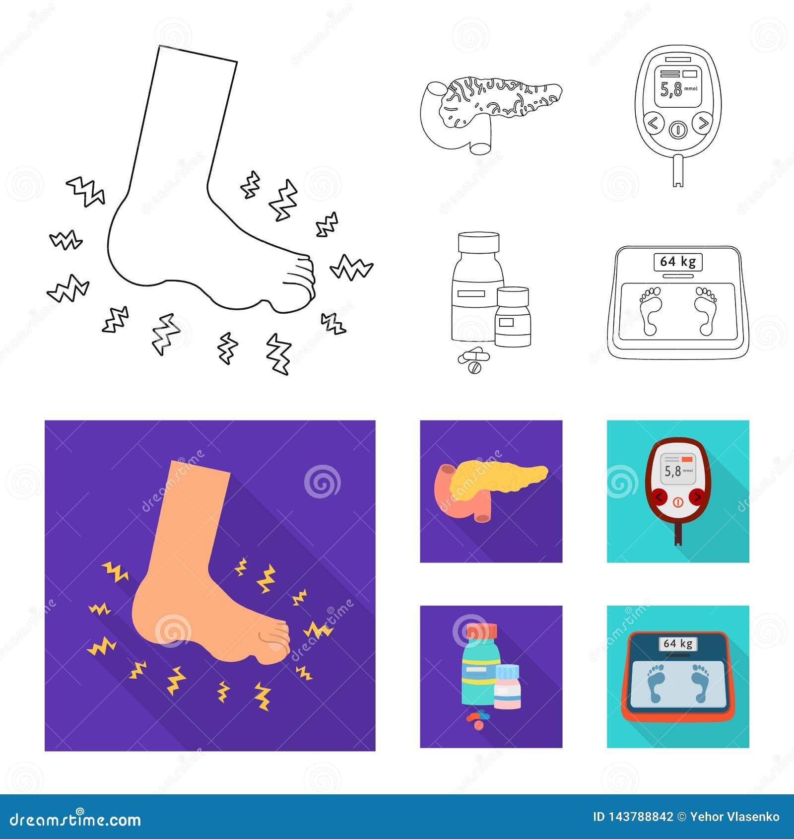 Vectorontwerp van dieet en behandelingsembleem Reeks van dieet en de vectorillustratie van de geneeskundevoorraad
