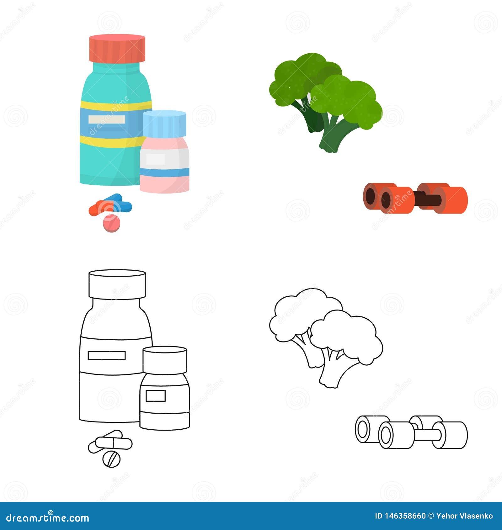 Vectorontwerp van dieet en behandelingspictogram Inzameling van dieet en het symbool van de geneeskundevoorraad voor Web