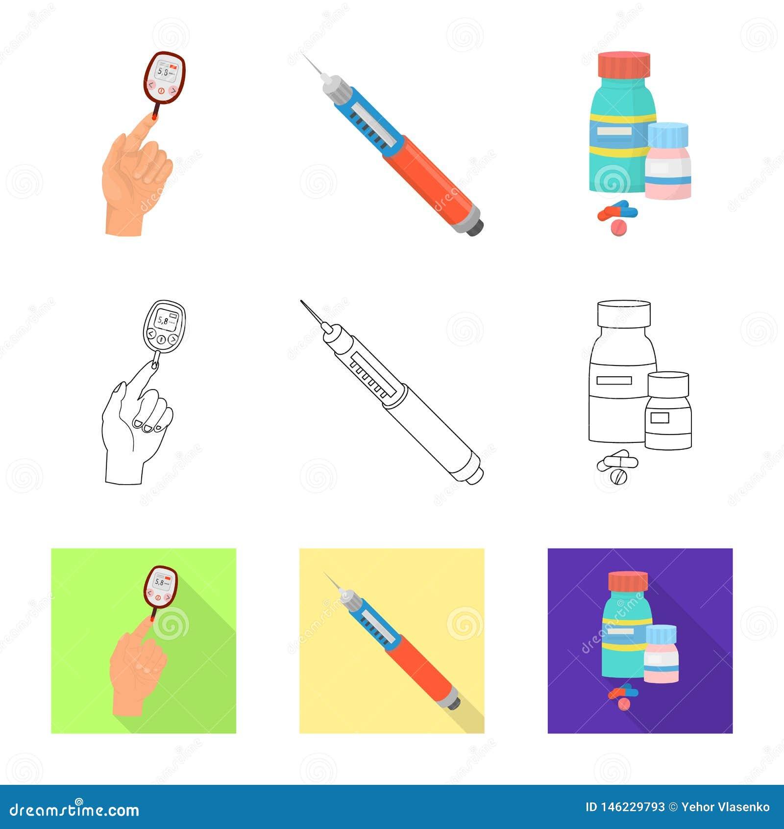 Vectorontwerp van dieet en behandelingsteken Reeks van dieet en de vectorillustratie van de geneeskundevoorraad