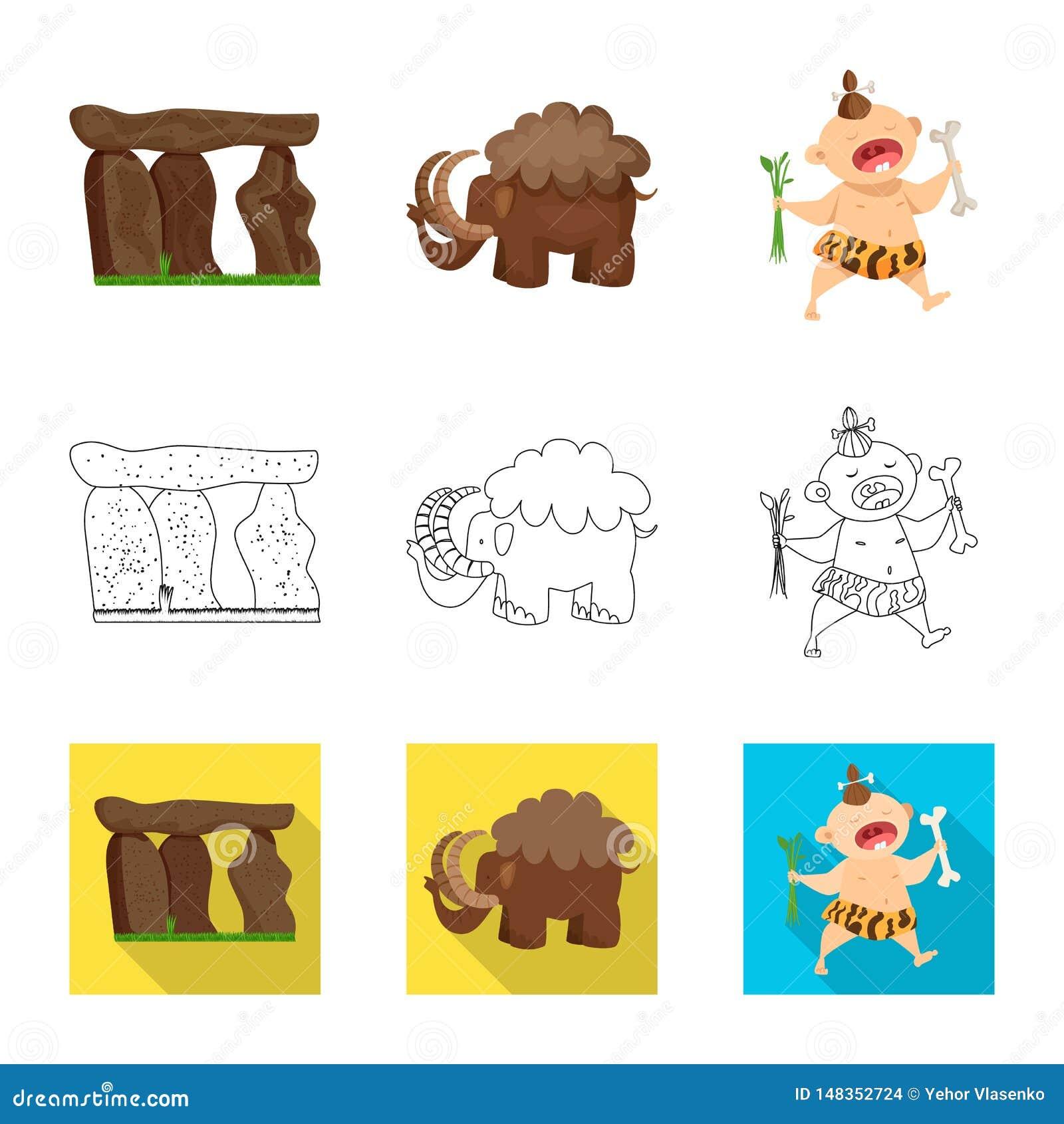 Vectorontwerp van evolutie en voorgeschiedenissymbool Inzameling van evolutie en ontwikkelings vectorpictogram voor voorraad