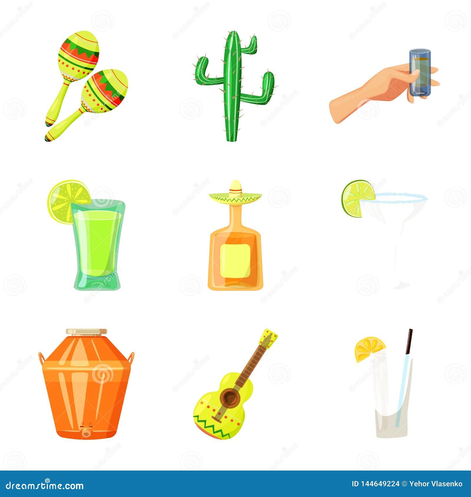 Vectorontwerp van het teken van Mexico en van tequila o
