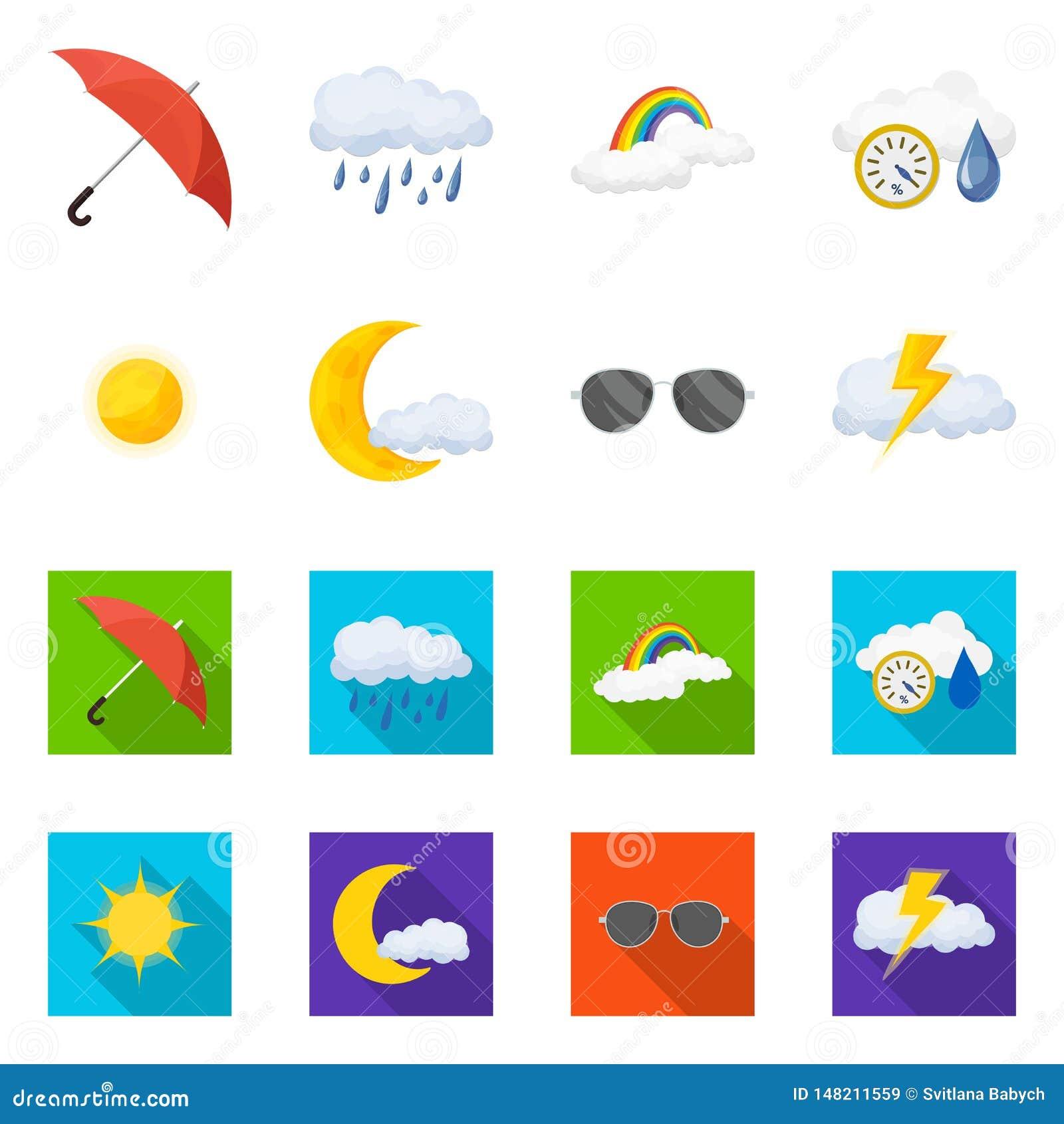 Vectorontwerp van weer en klimaatsymbool Reeks van weer en wolken vectorpictogram voor voorraad