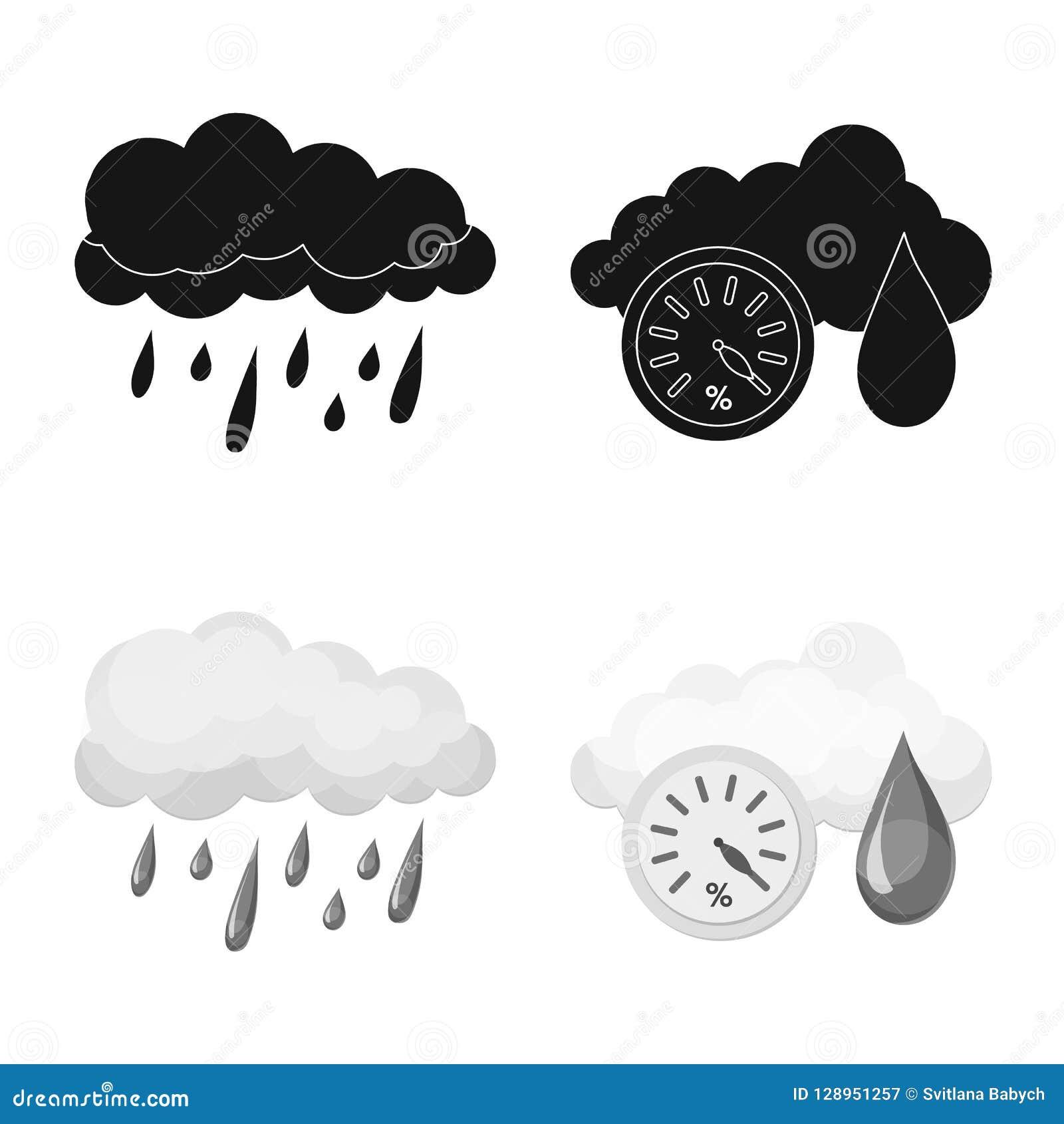 Vectorontwerp van weer en klimaatteken Inzameling van weer en de vectorillustratie van de wolkenvoorraad