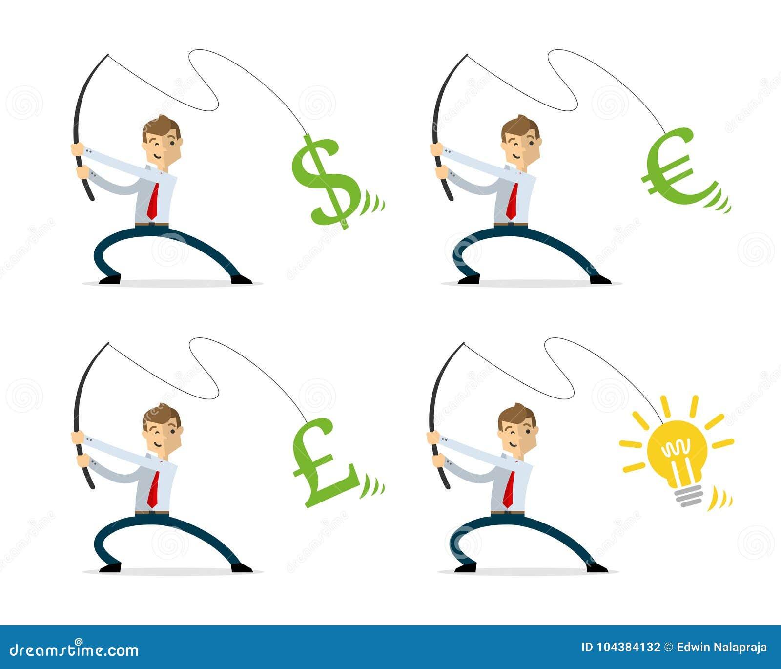 Vectorpak zakenman visserijgeld en ideeën