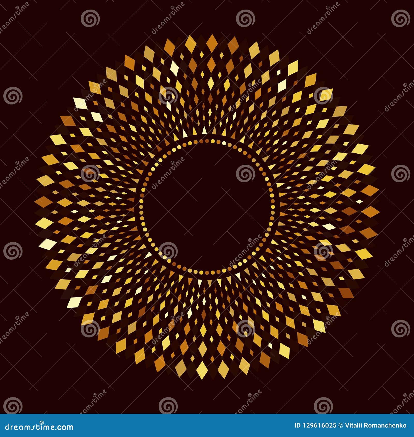Vectorpatroonmalplaatje Gouden Ornament Symmetrische diamanten door de zon Uitstekend monogram