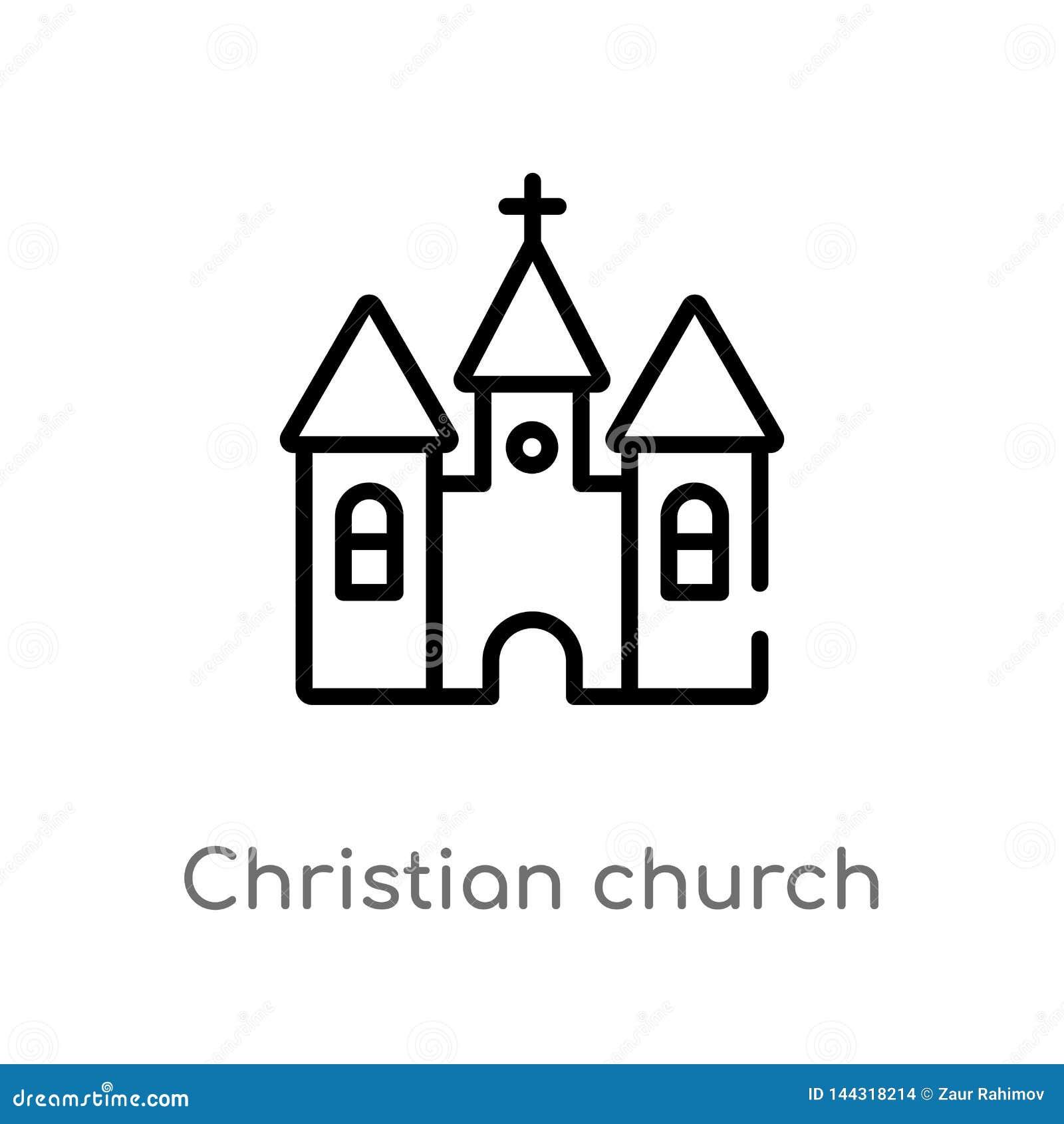 Vectorpictogram van de overzichts het christelijke kerk de geïsoleerde zwarte eenvoudige illustratie van het lijnelement van vorm