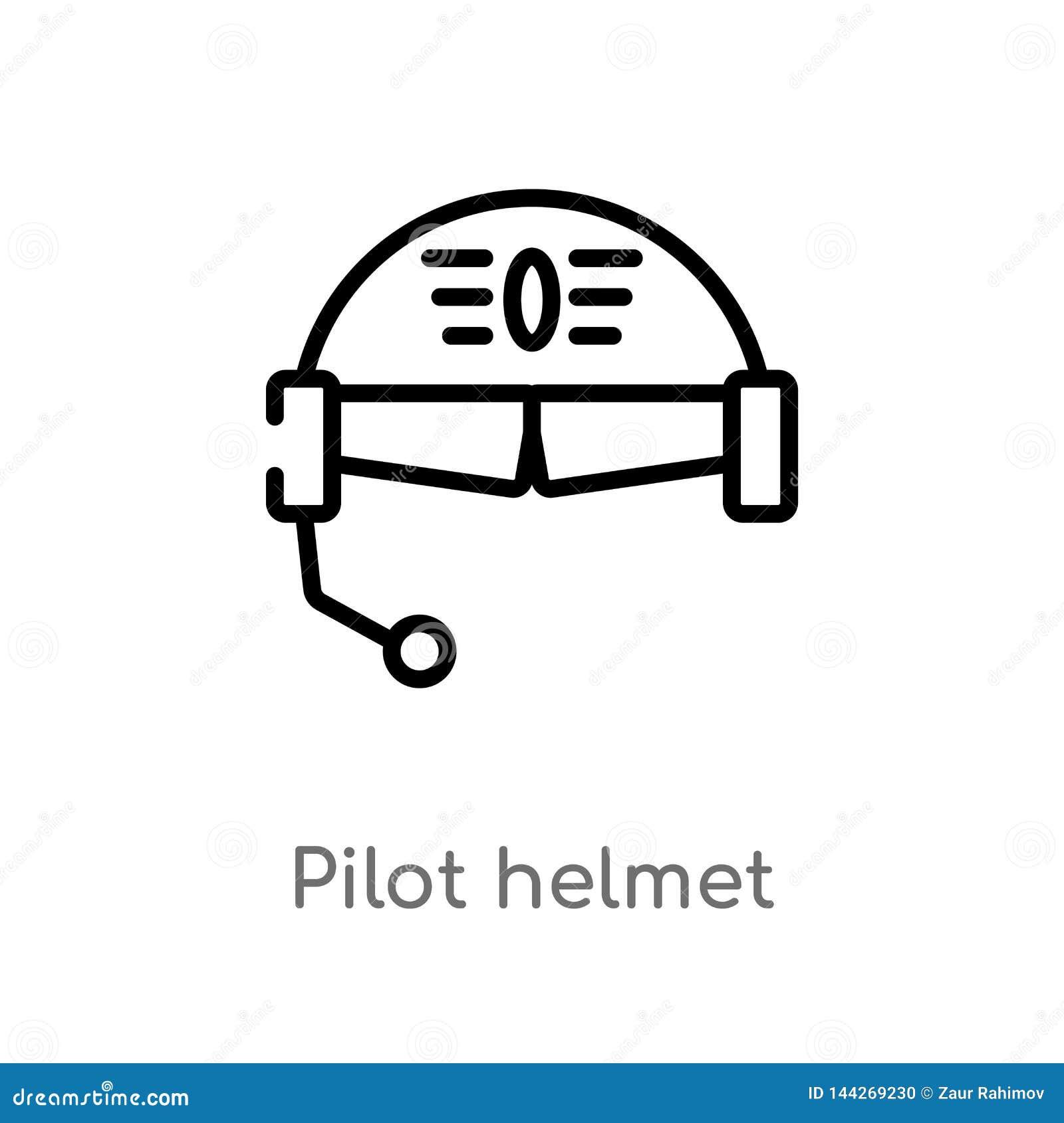 Vectorpictogram van de overzichts het proefhelm de geïsoleerde zwarte eenvoudige illustratie van het lijnelement van luchthaven e