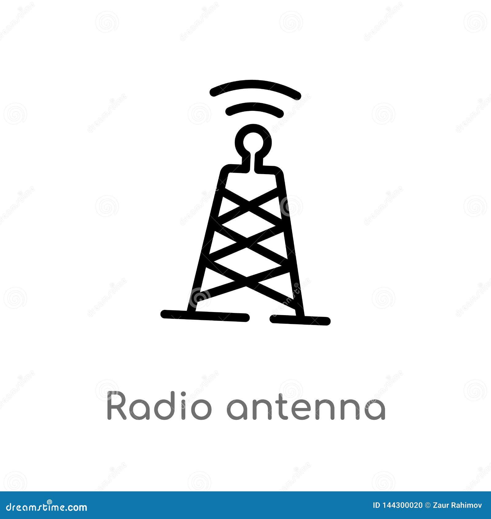 Vectorpictogram van de overzichts het radioantenne de ge?soleerde zwarte eenvoudige illustratie van het lijnelement van communica