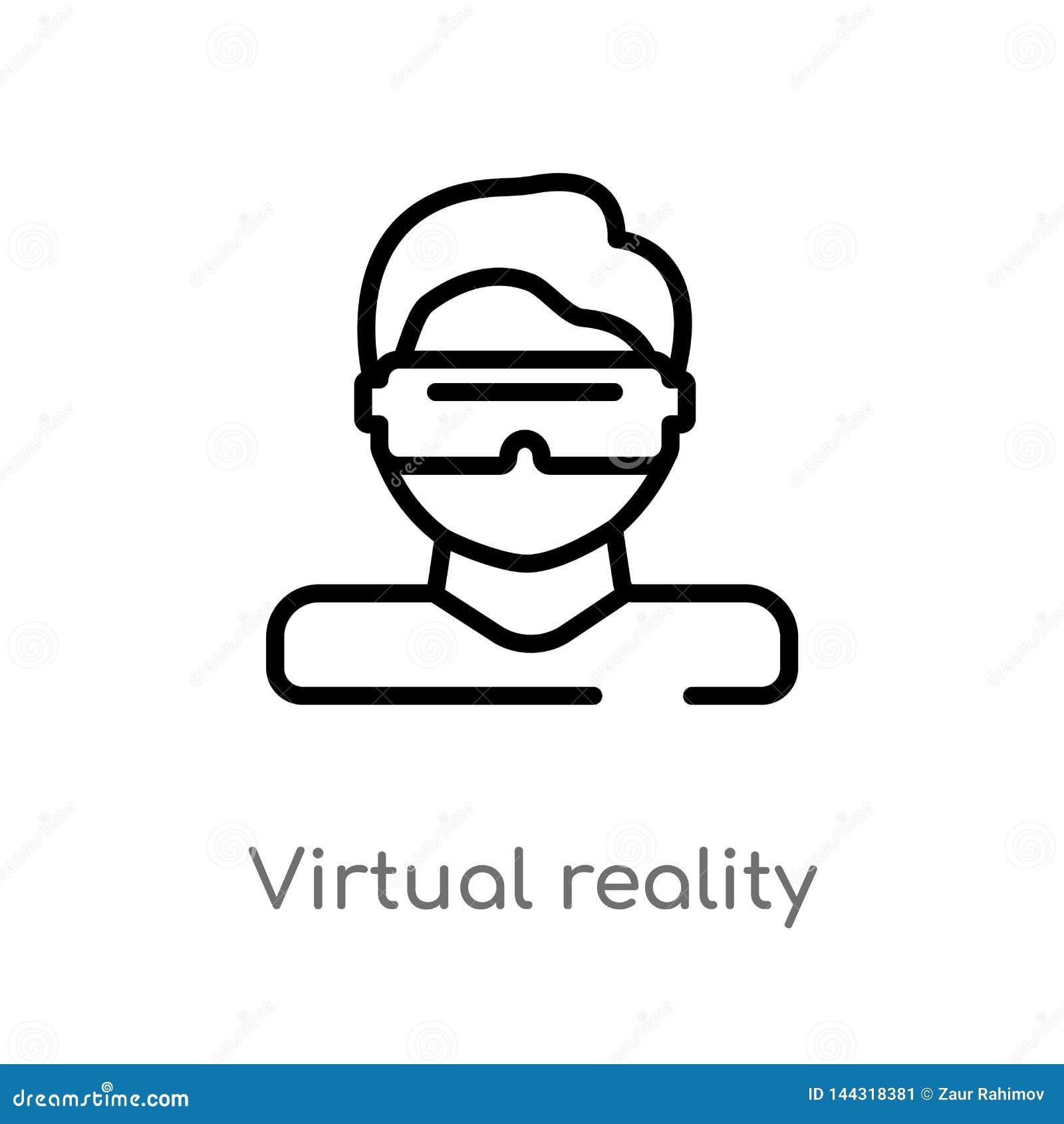 Vectorpictogram van de overzichts het virtuele werkelijkheid de geïsoleerde zwarte eenvoudige illustratie van het lijnelement van