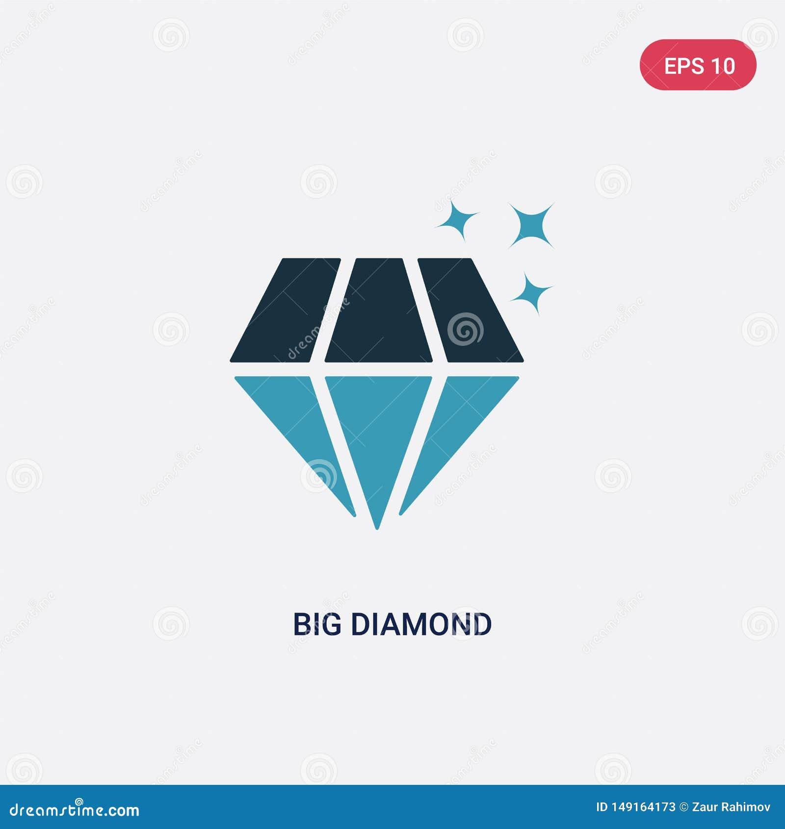 Vectorpictogram van de twee kleuren het grote diamant van vormenconcept het geïsoleerde blauwe grote symbool van het diamant vect