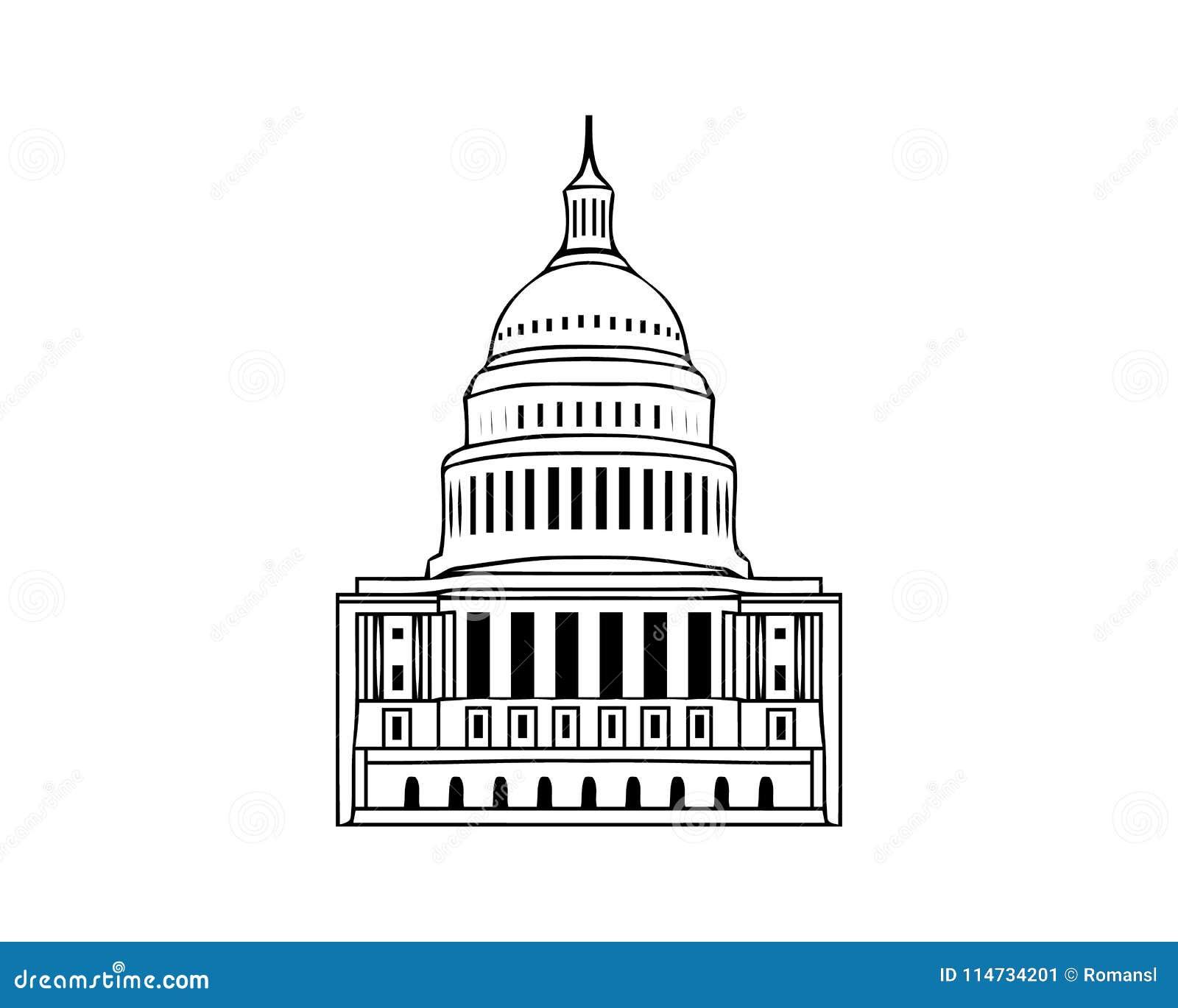 Vectorpictogram van Verenigde Staten Capitol Hill die ontwerp van het het congres witte symbool van Washington gelijkstroom het A