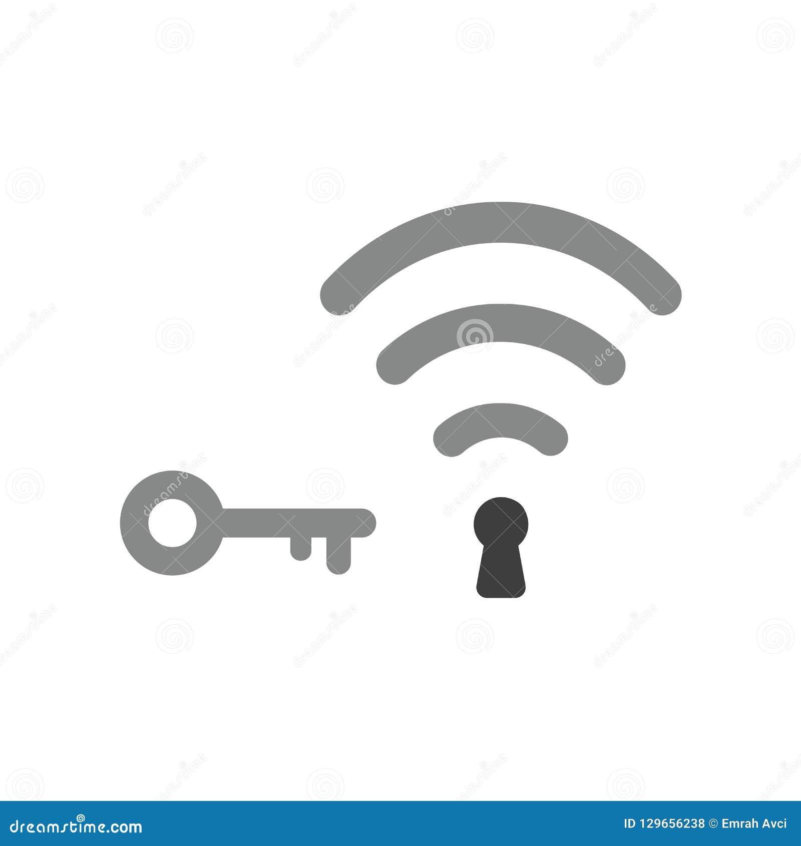 Vectorpictogramconcept draadloos wifisymbool met sleutelgat en sleutel