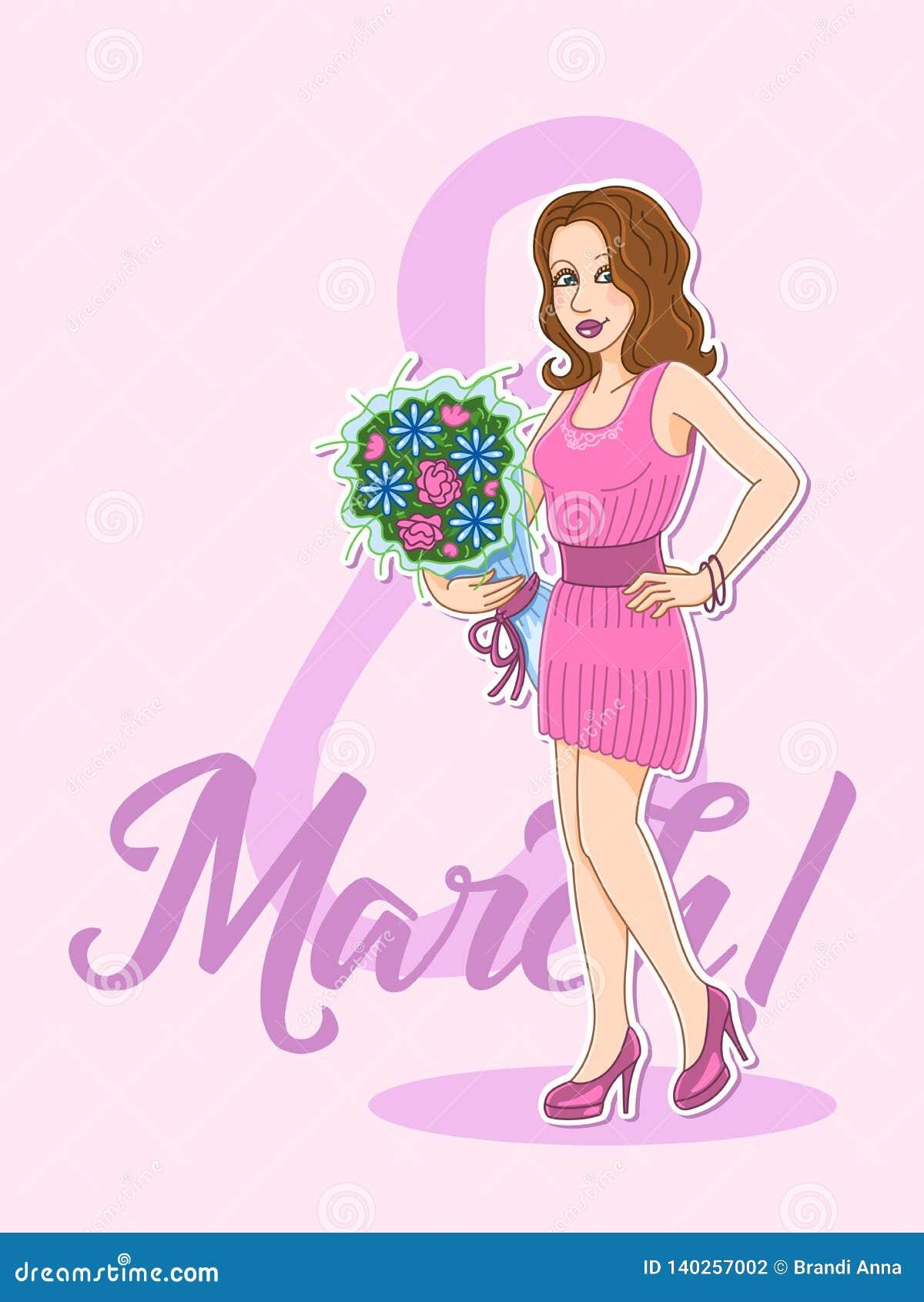 Vectorprentbriefkaar aan 8 Maart De Dag van de Vrouwen Sticker mooi meisje met bloemen
