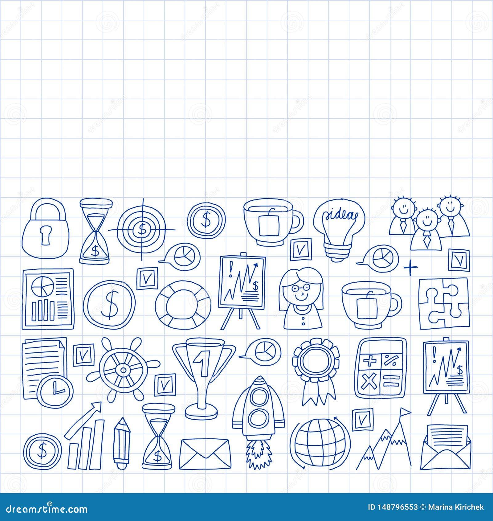 Vectorreeks bedrijfspictogrammen in krabbelstijl geschilderd door penon een stuk van document in kooi