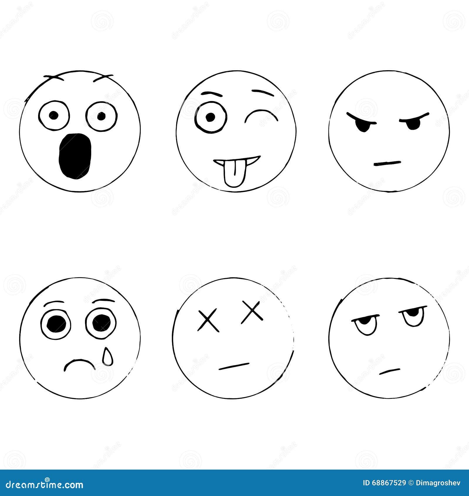 Line Drawing Emoji : Vectorreeks emoticonkrabbels hand getrokken droevige