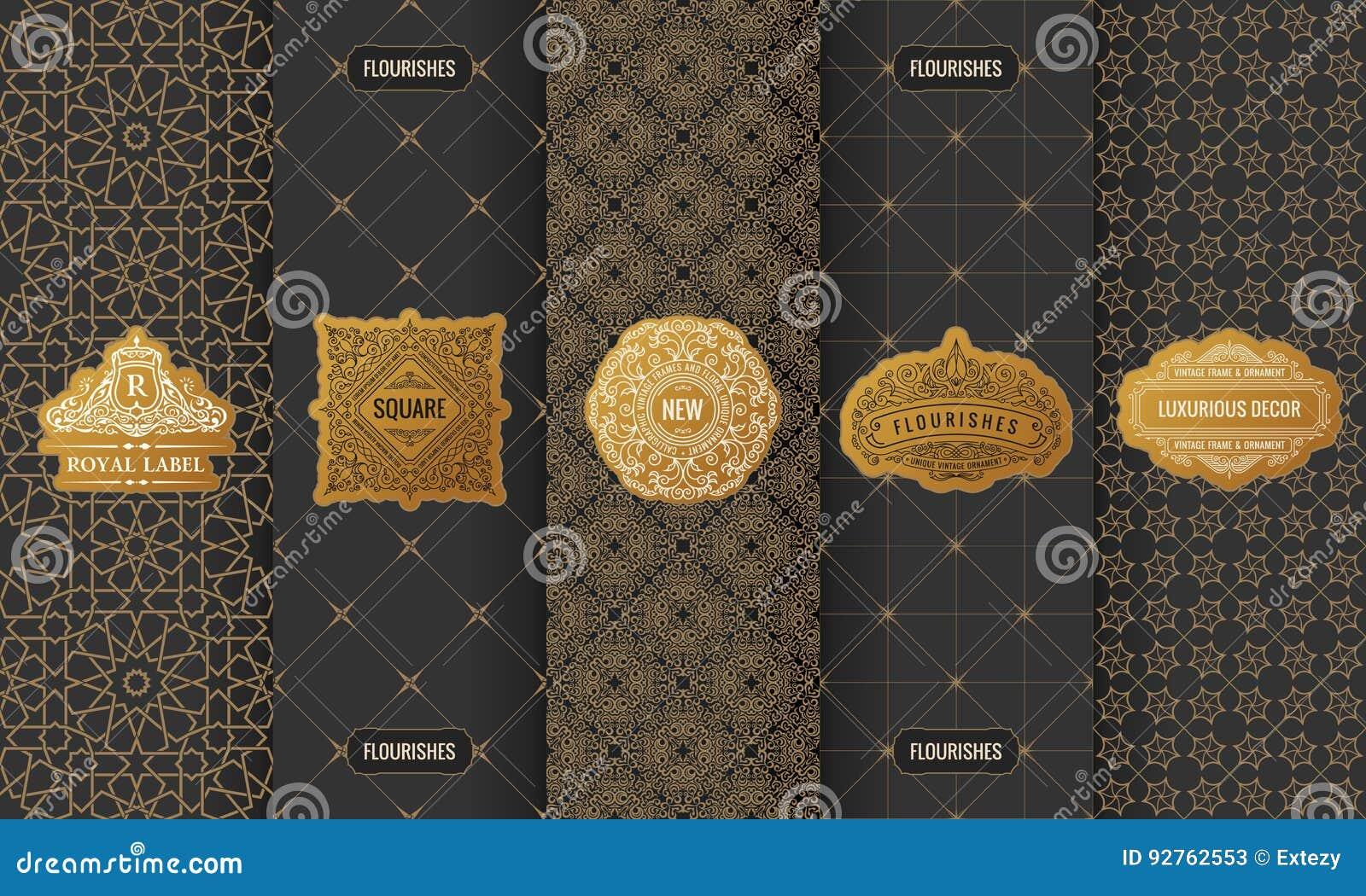 Vectorreeks etiketten van ontwerpelementen, pictogram, embleem, kader, luxe verpakking voor het product