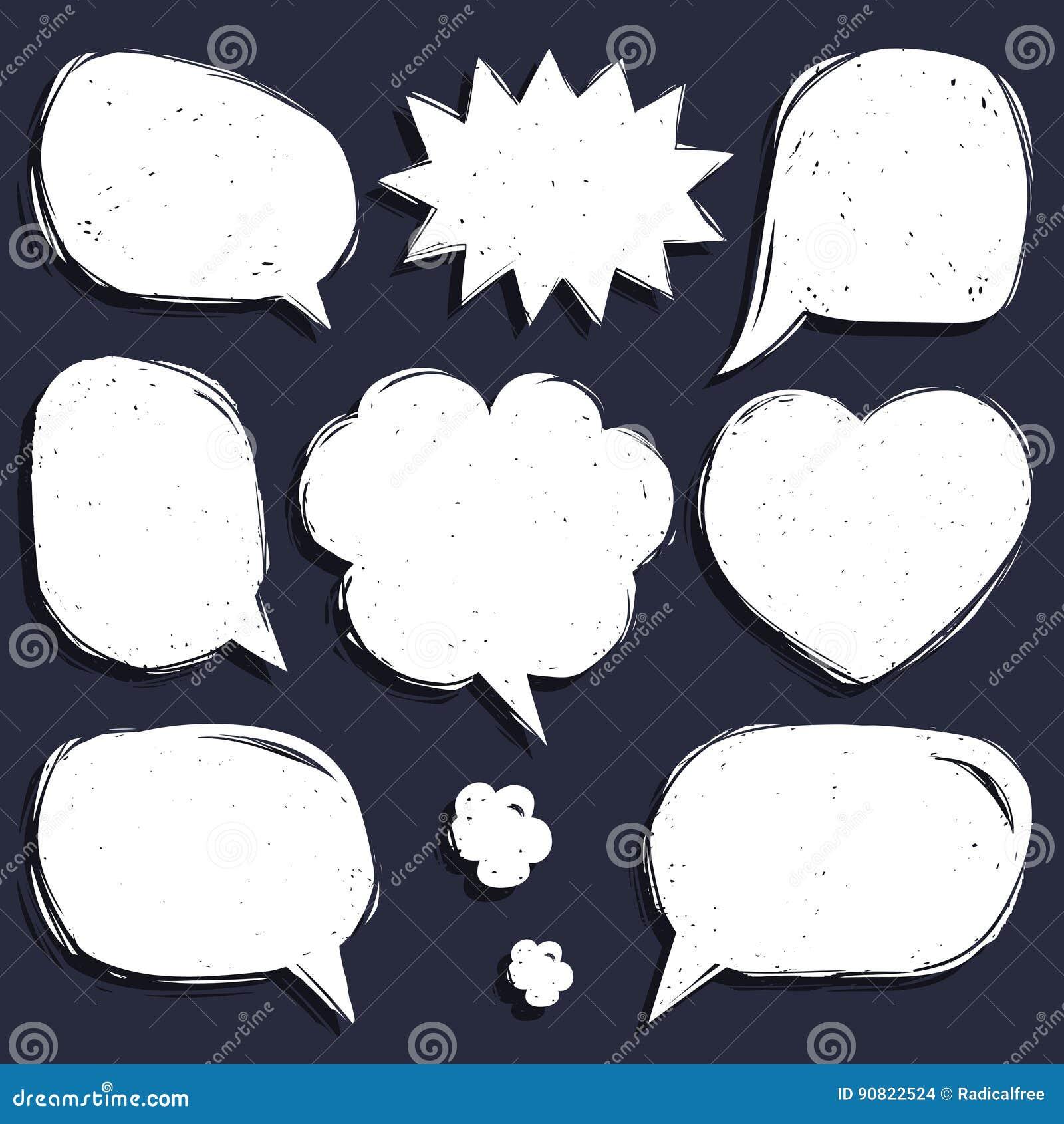 Vectorreeks grappige toespraakbellen in in vlakke stijl Hand geschetste lege dialoogvensters