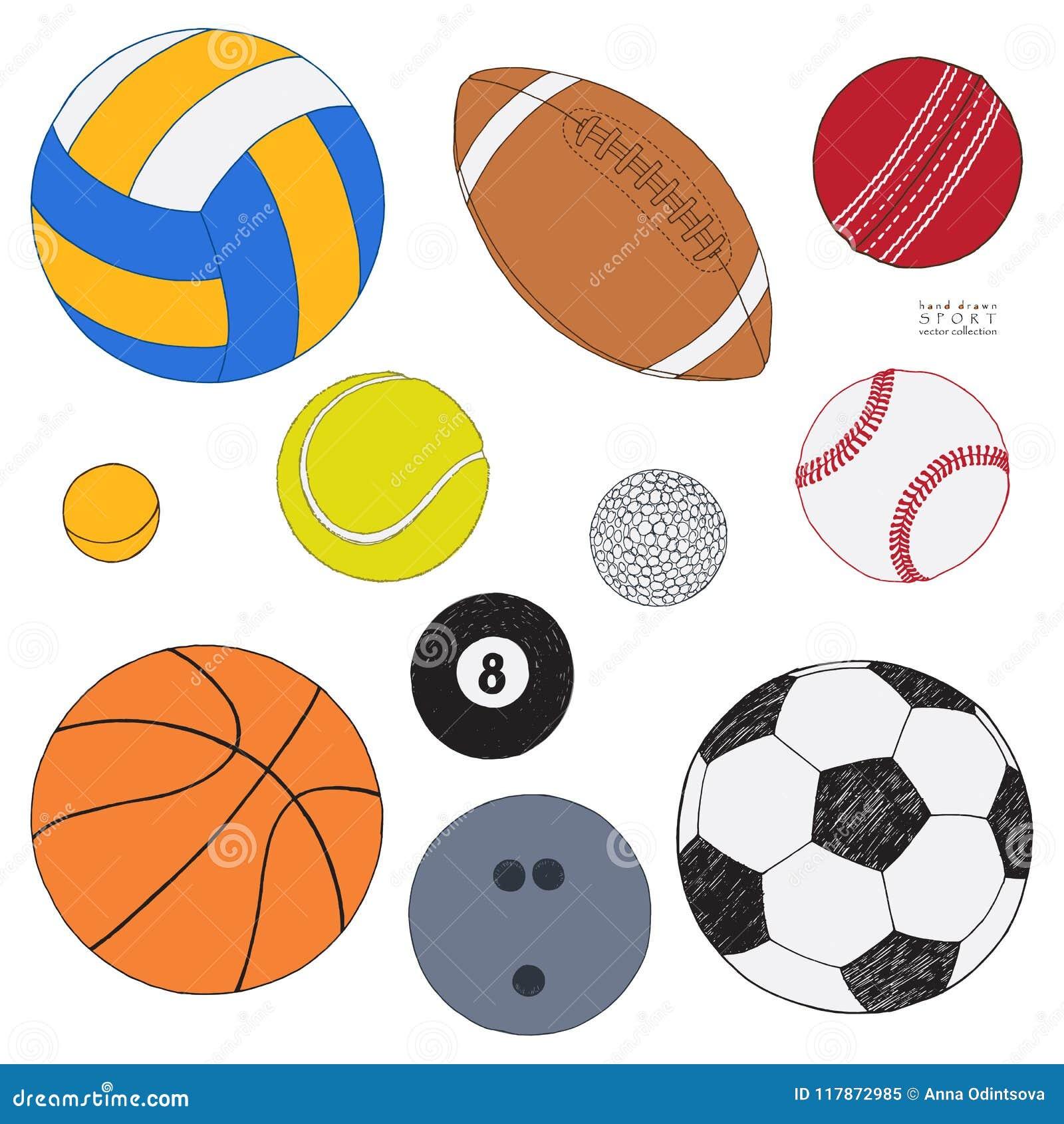Vectorreeks sportballen Hand getrokken gekleurde schets Geïsoleerdj op witte achtergrond De inzameling van de sport