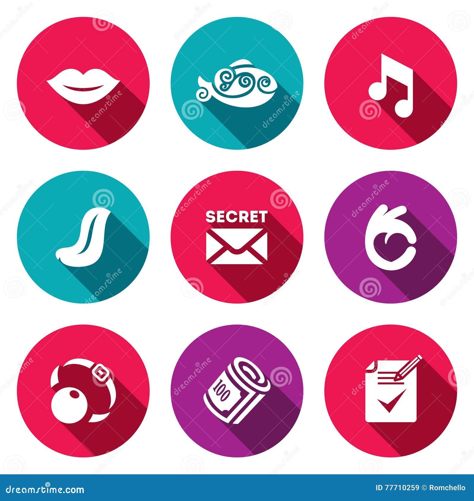 Vectorreeks Stiltepictogrammen Stomheid, vissen, geluid, taal, geheim, gebaar, prop, steekpenning, document