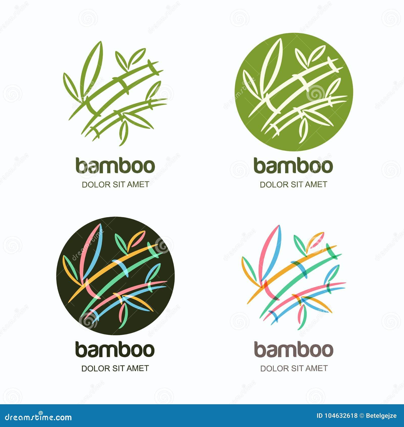 Download Vectorreeks Van Embleempictogram Of Embleem Met Hand Getrokken Veelkleurige Creatieve Bamboeinstallatie Vector Illustratie - Illustratie bestaande uit element, massage: 104632618