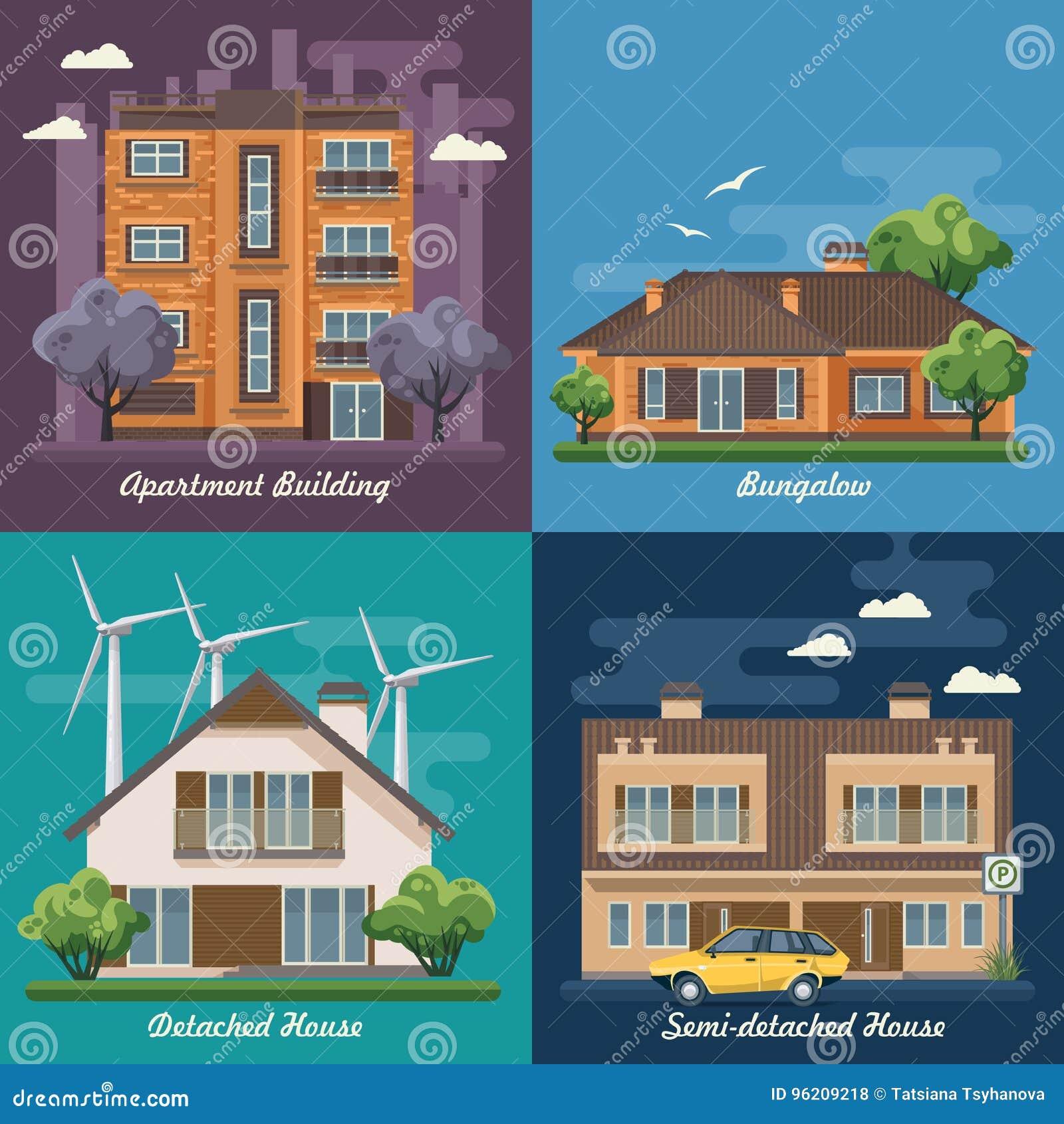 Vectorreeks van illustratie met gebouwen, losgemaakt huis, semi-detached huis, bungalow, herenhuis, high-rise de bouw