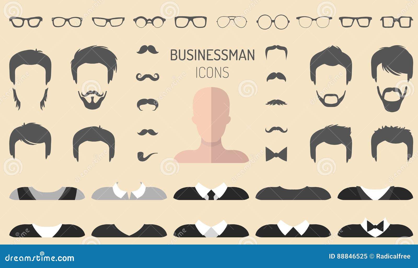 Vectorreeks van kleding op aannemer met verschillende zakenmanglazen, baard enz. In vlakke stijl De mannelijke schepper van het g