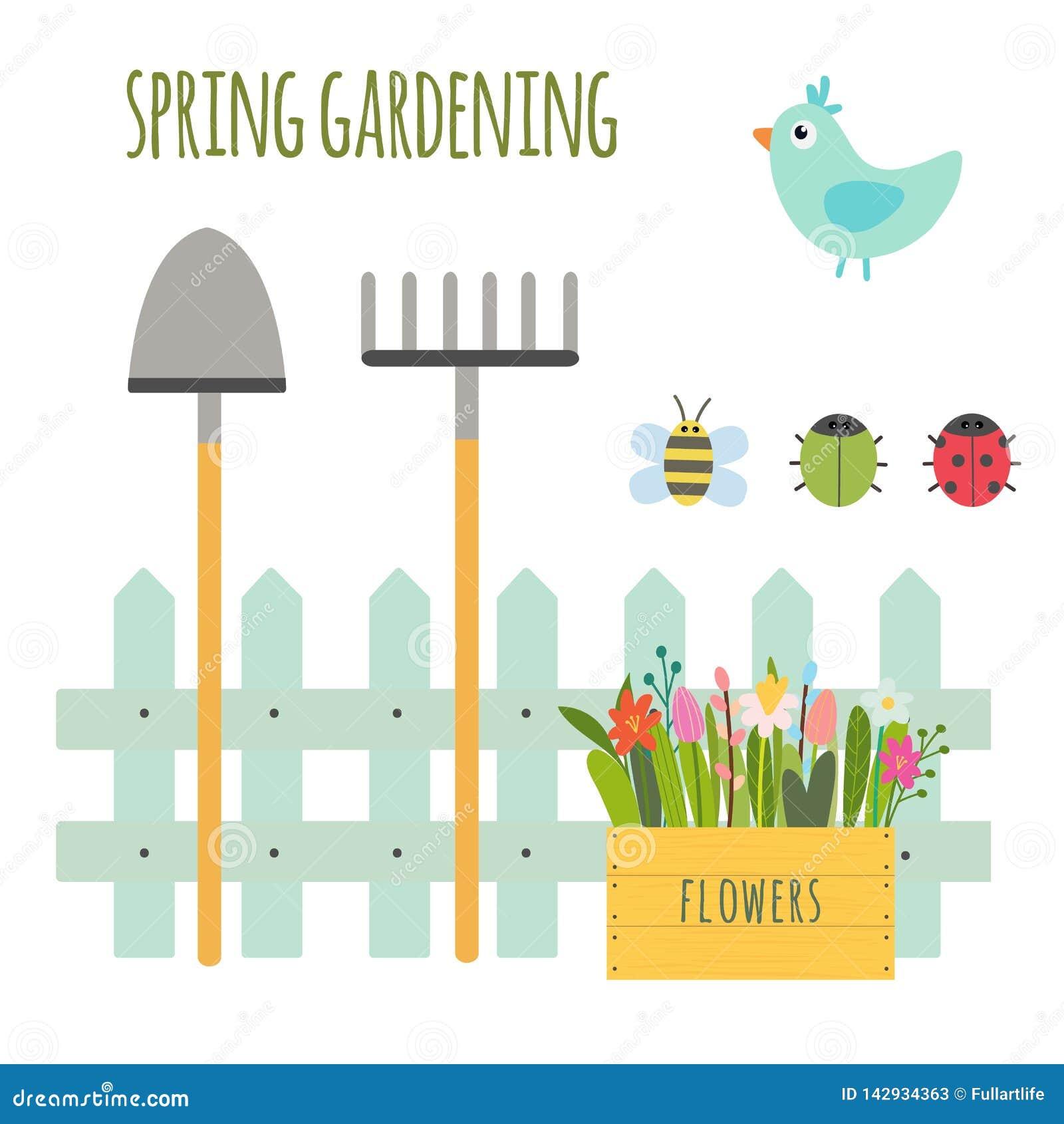 Vectorreeks van leuke het tuinieren scène