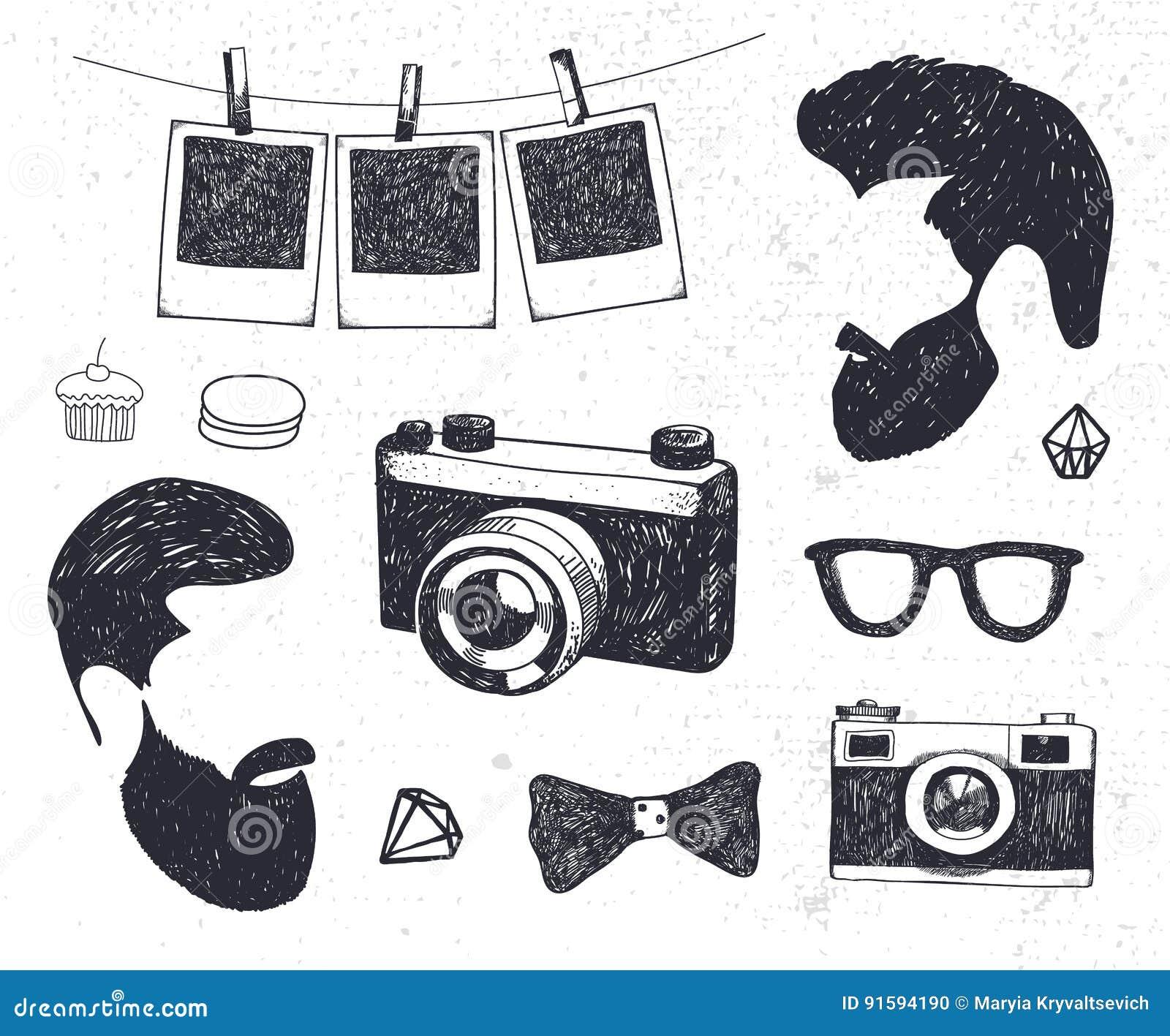 Vectorreeks van uitstekend gestileerd ontwerp hipster materiaal Hand getrokken krabbelmalplaatjes voor uw ontwerp